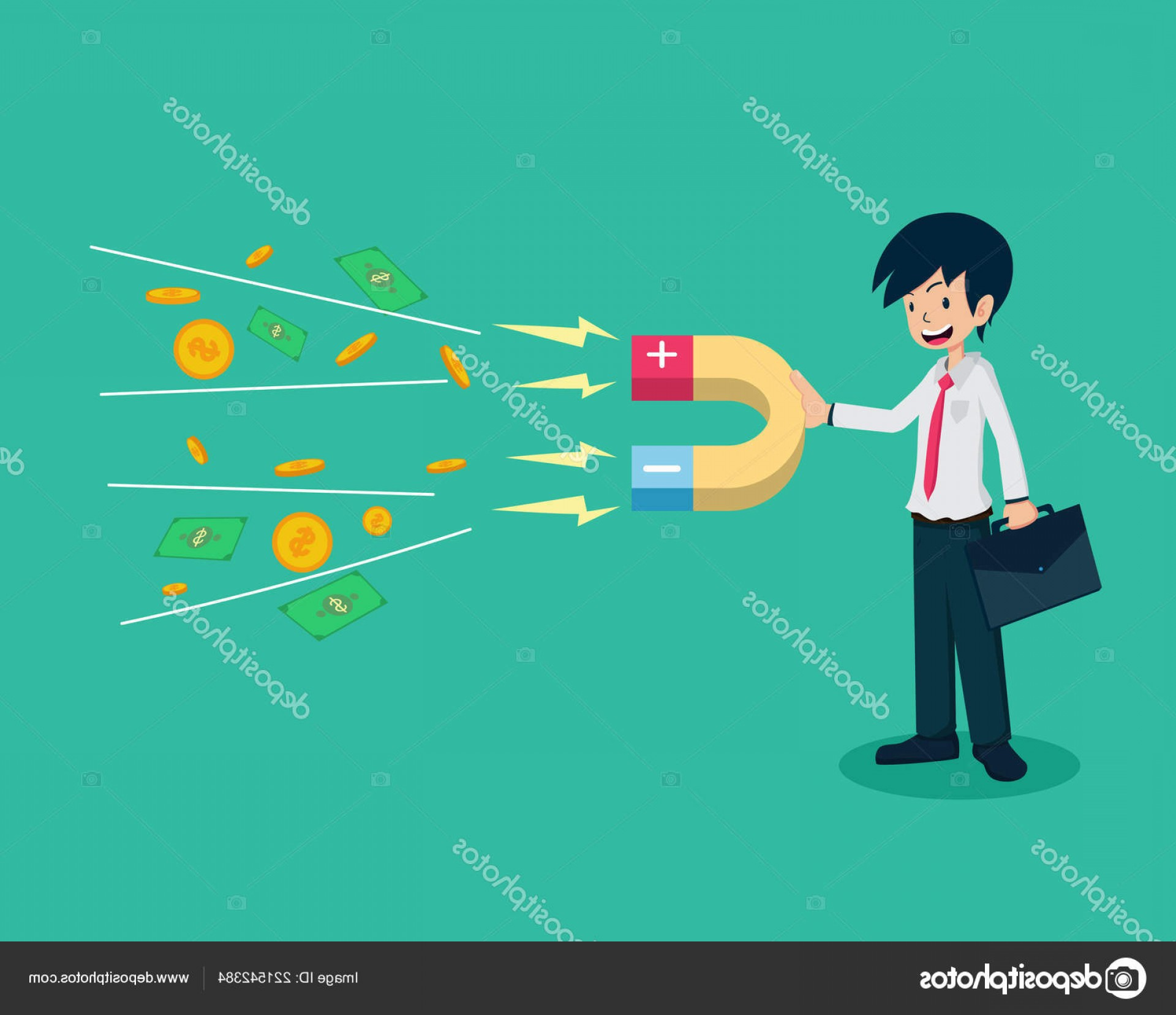 Vector Marketing Salary: Stock Illustration Salary Man Holding Magnet Money