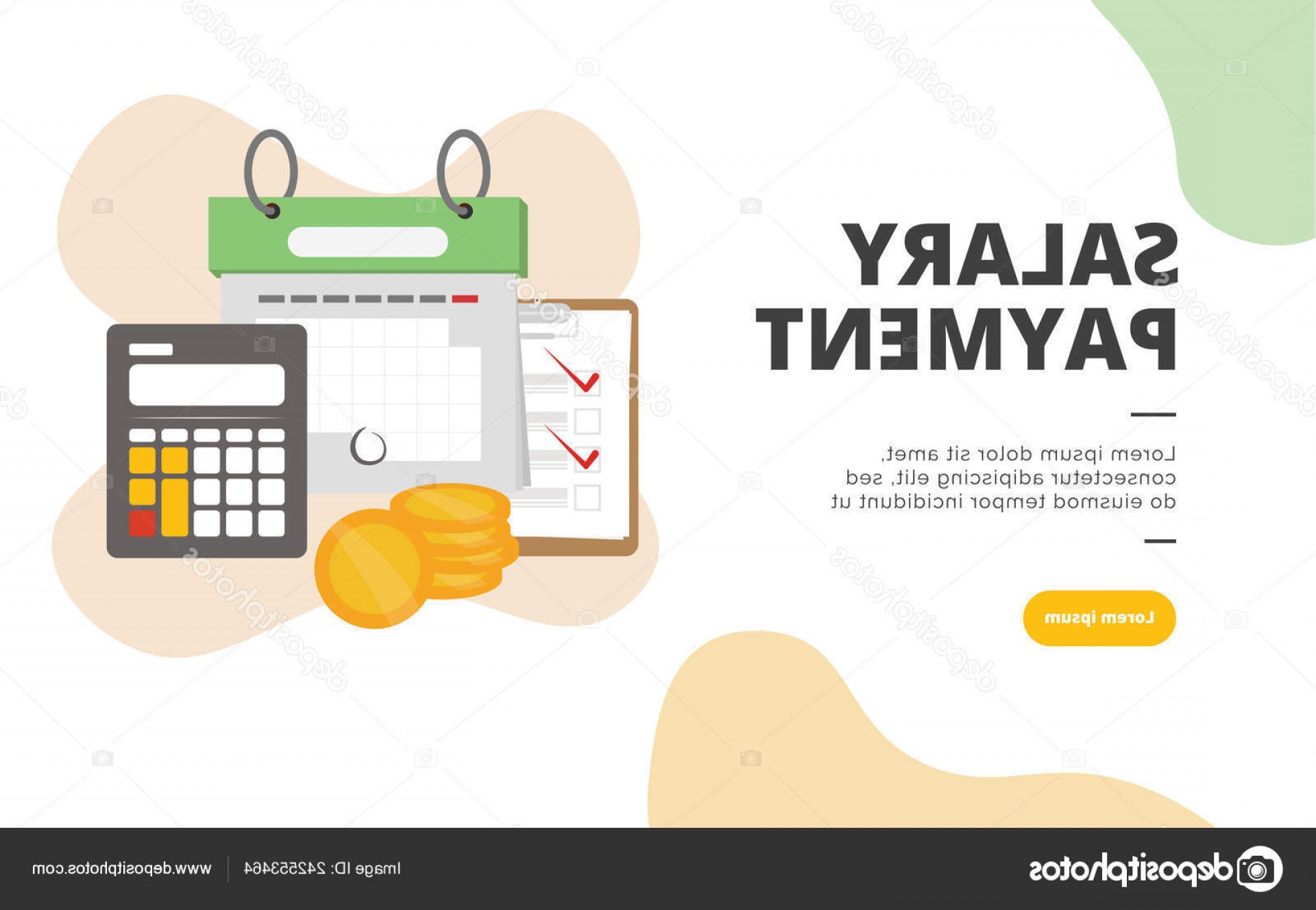 Vector Marketing Salary: Stock Illustration Salary Payment Flat Design Banner