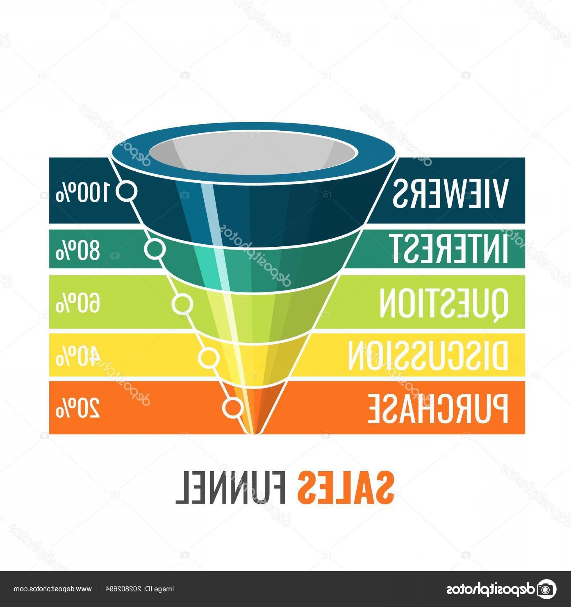 Vector Funnel Infographic: Stock Illustration Sales Funnel For Marketing Digital