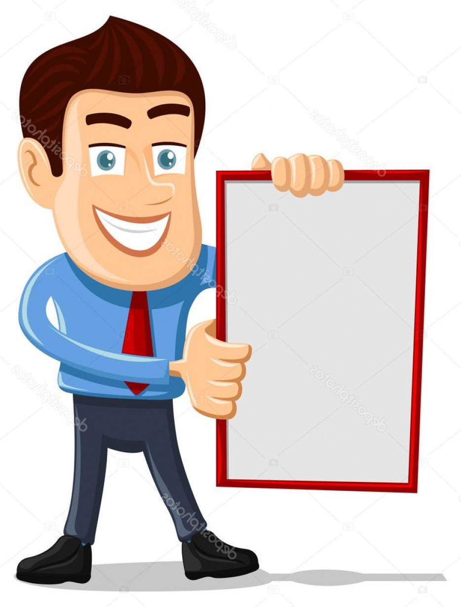 Salesman Vector: Stock Illustration Salesman Holding Empty Board