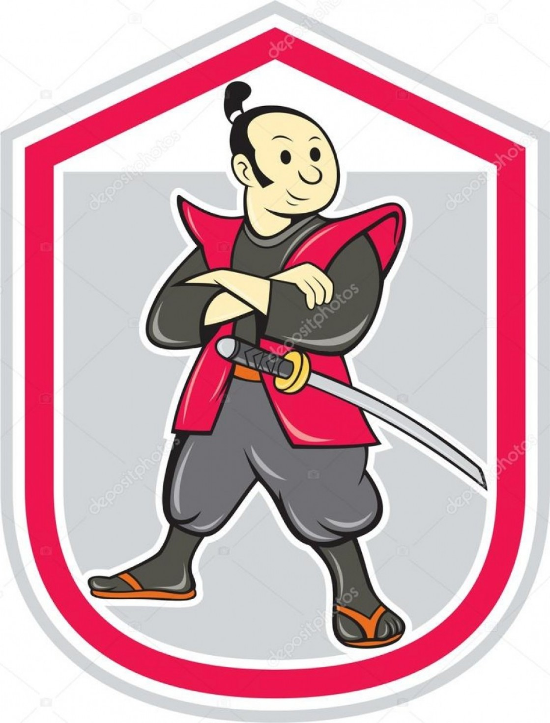 Samurai Warrior Vector: Stock Illustration Samurai Warrior Arms Folded Shield