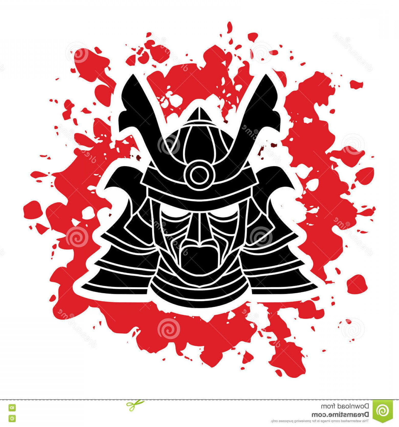 Red Samurai Vector: Stock Illustration Samurai Warrior Mask Designed Splatter Blood Background Graphic Vector Image