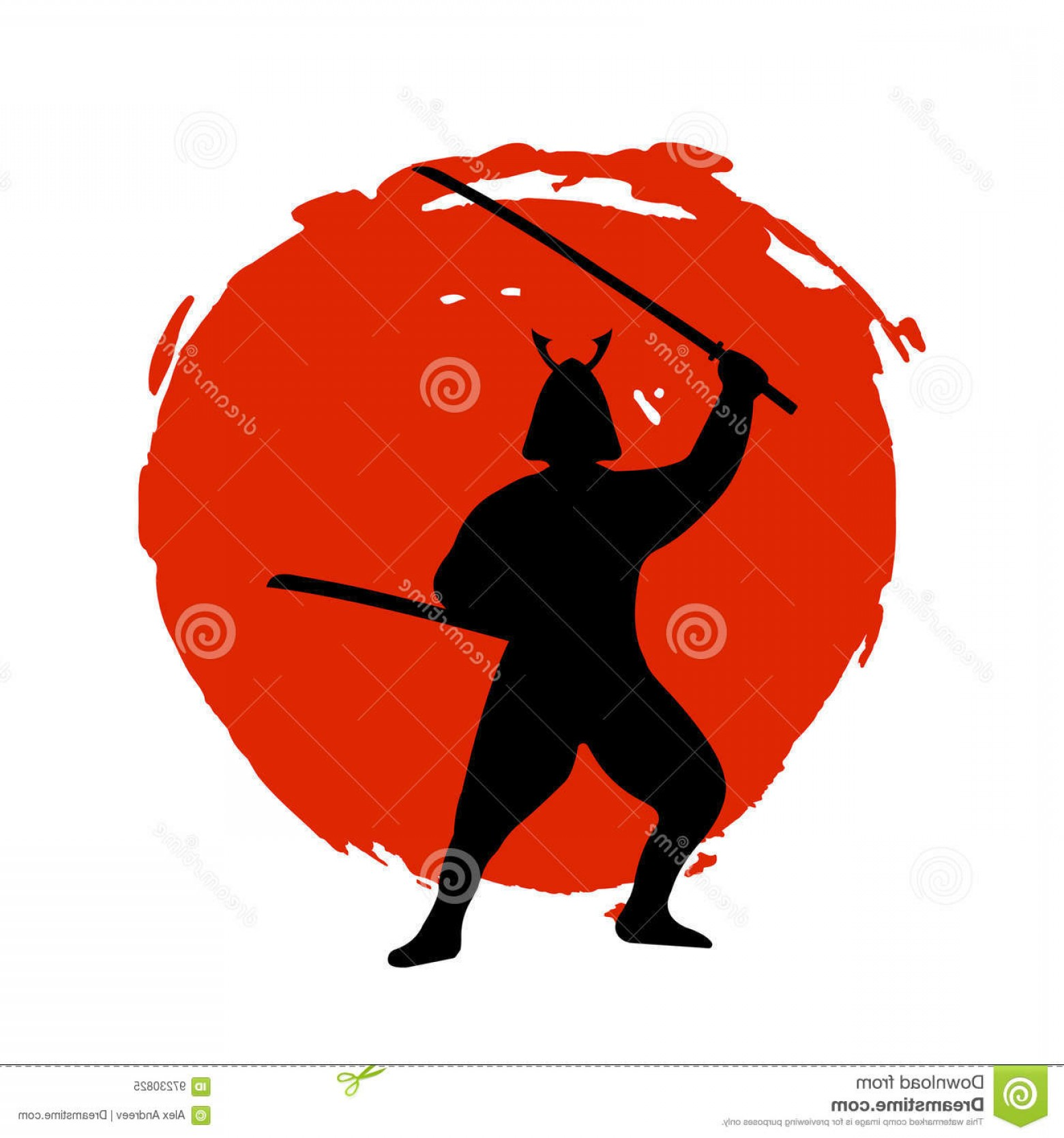 Red Samurai Vector: Stock Illustration Samurai Warrior Silhouette Red Moon White Background Isolated Vector Illustration Image
