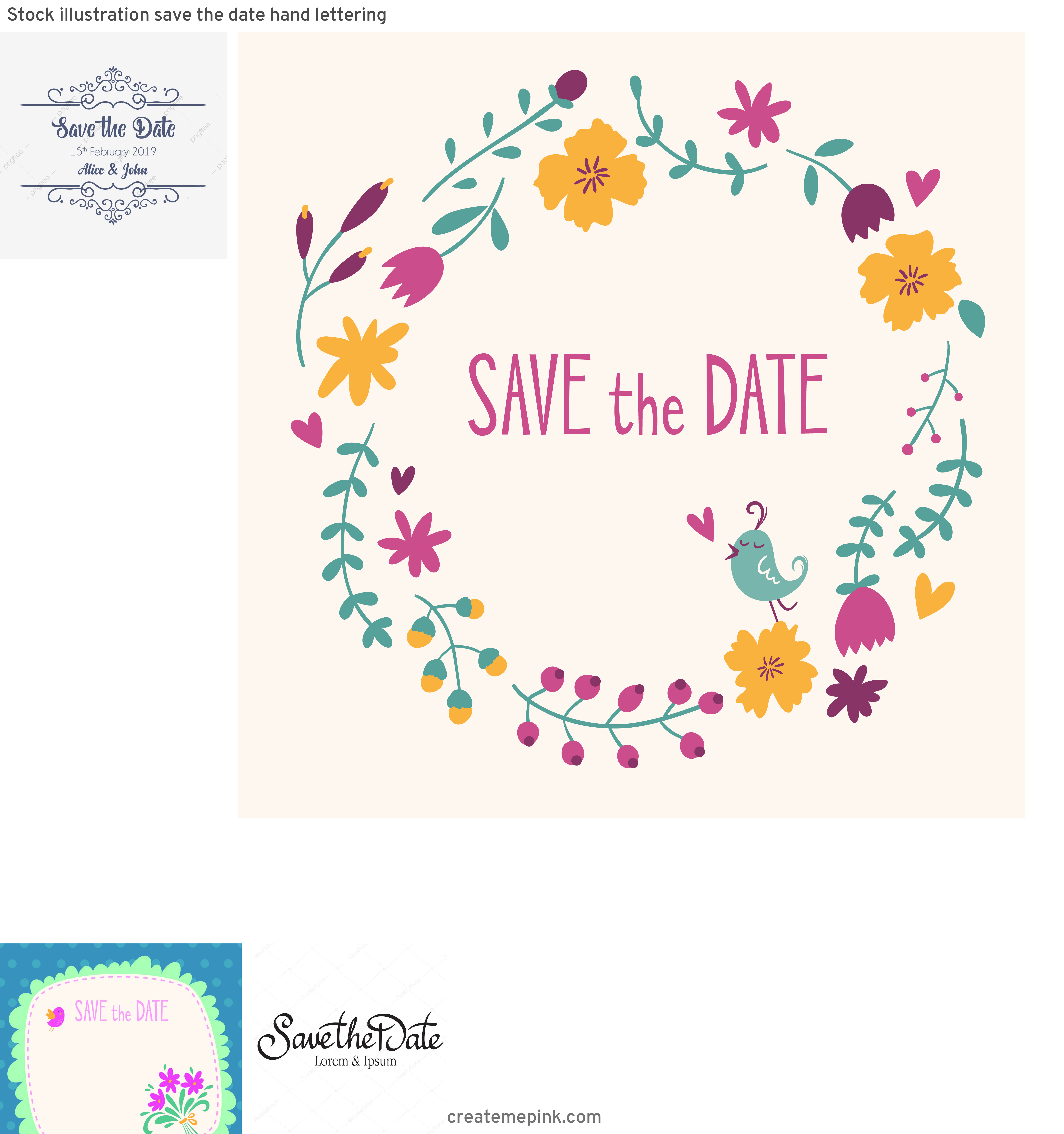 Save The Date Vector: Stock Illustration Save The Date Hand Lettering