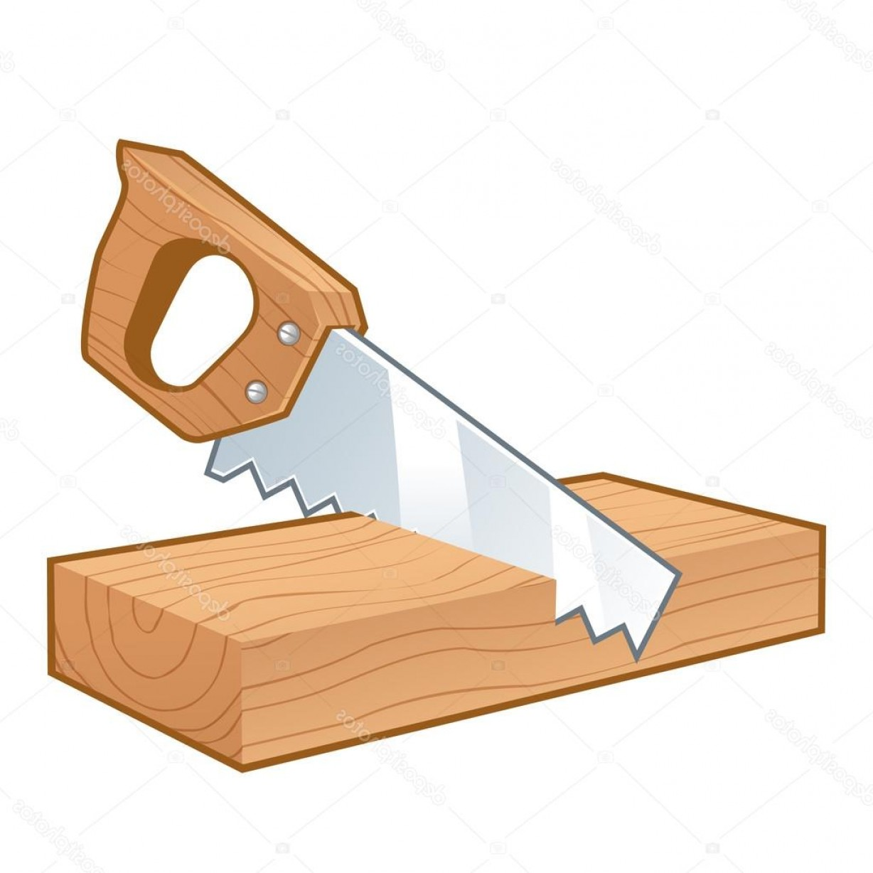 Wood Cutting Vector: Stock Illustration Saw Cutting A Piece Of