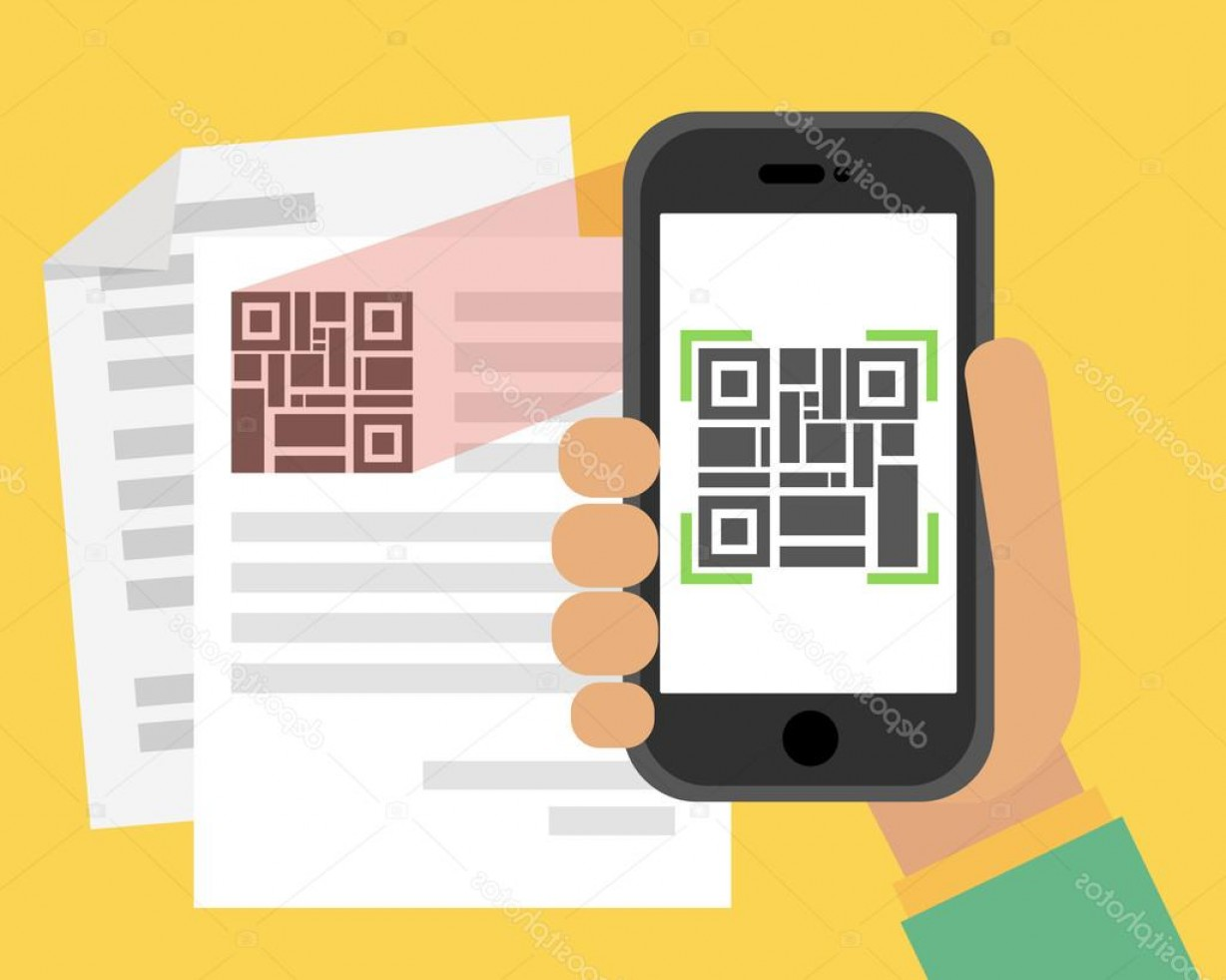 QR Mobile Phone Vector: Stock Illustration Scan Qr Code To Mobile