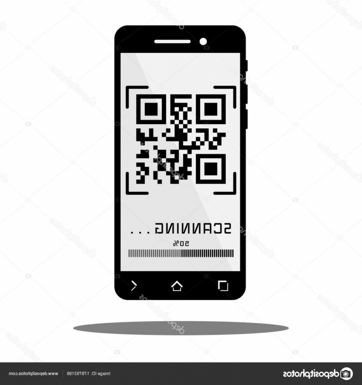 QR Mobile Phone Vector: Stock Illustration Scan Qr Code With Black