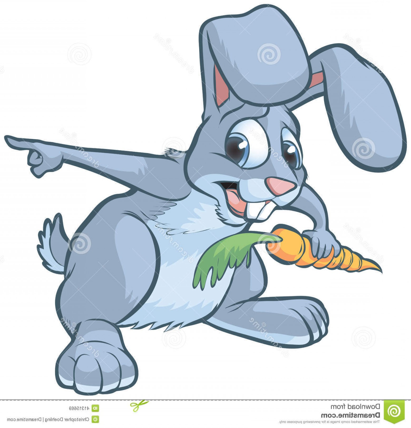 Animated Bunny Face Vector: Stock Illustration Scared Cartoon Rabbit Pointing Vector Clip Art Gray Bunny Holding Carrot To Right Image