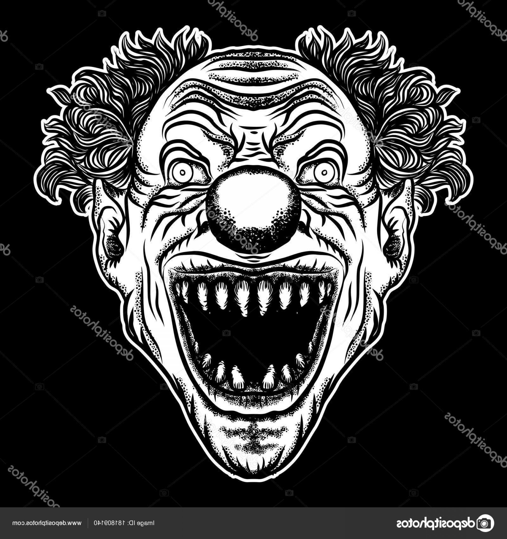 Evil Clown Vector Art: Stock Illustration Scary Clown Head Concept Of