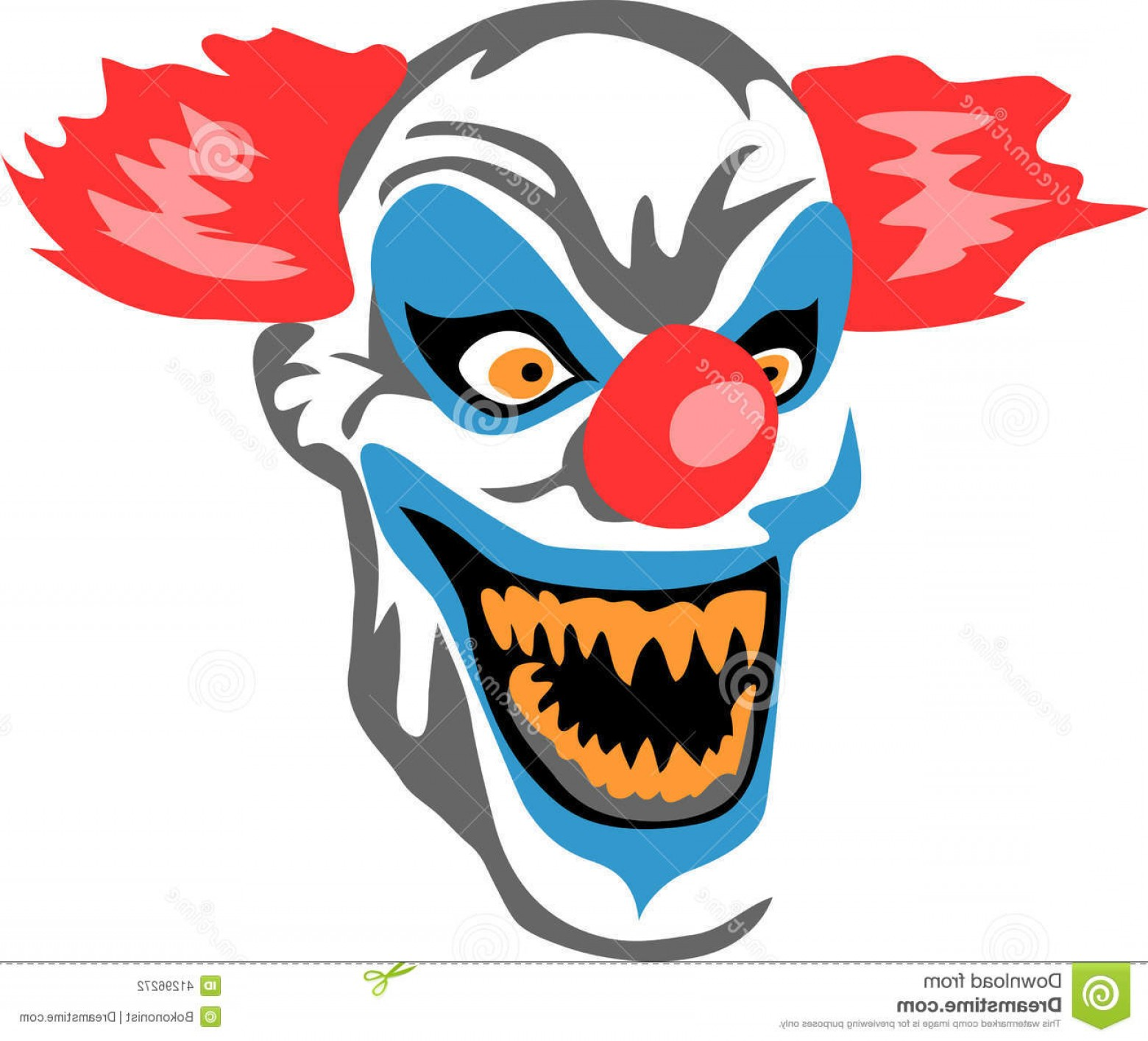 Creepy Clown Vector: Stock Illustration Scary Clown Stylized Color Illustration Image