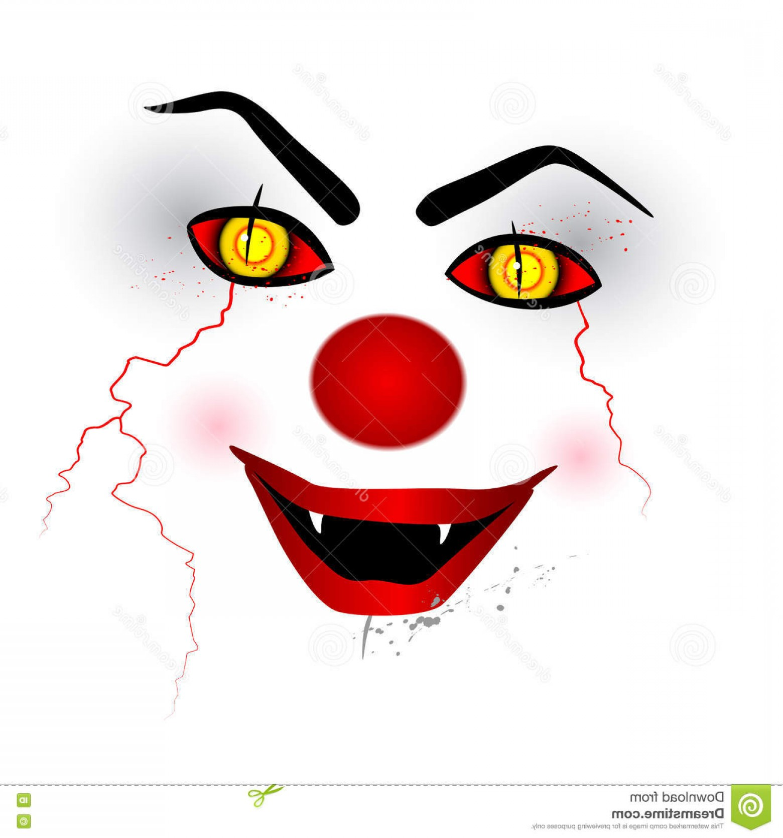 Creepy Clown Vector: Stock Illustration Scary Face Creepy Clown White Background Vector Isolated Image