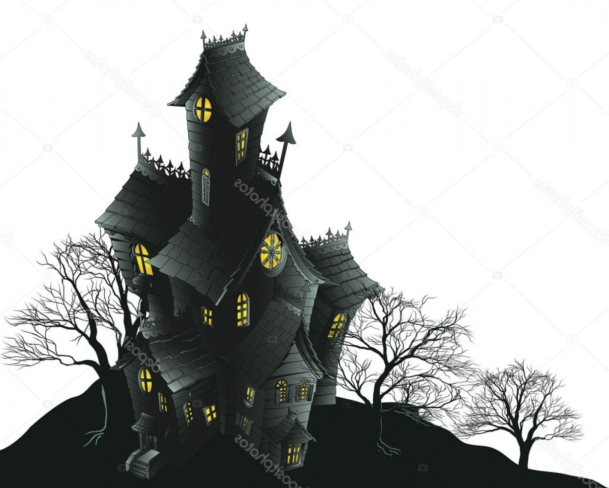 Halloween Haunted House Silhouette Vector: Stock Illustration Scary Haunted House And Trees