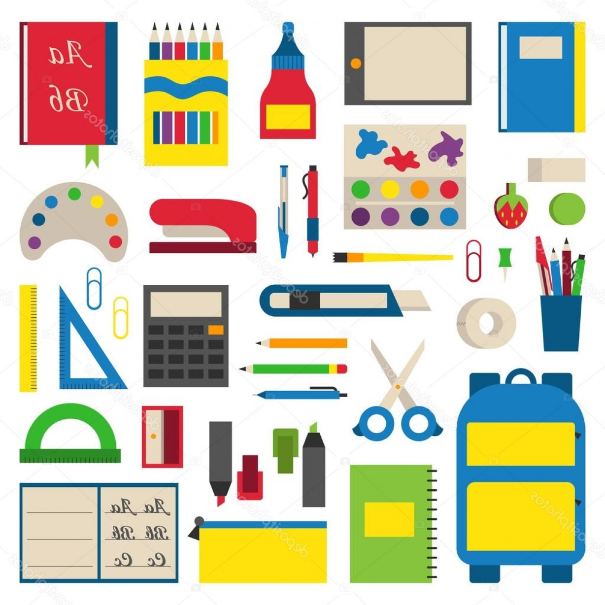 Individual School Supplies Vector: Stock Illustration School Supplies Vector Illustration