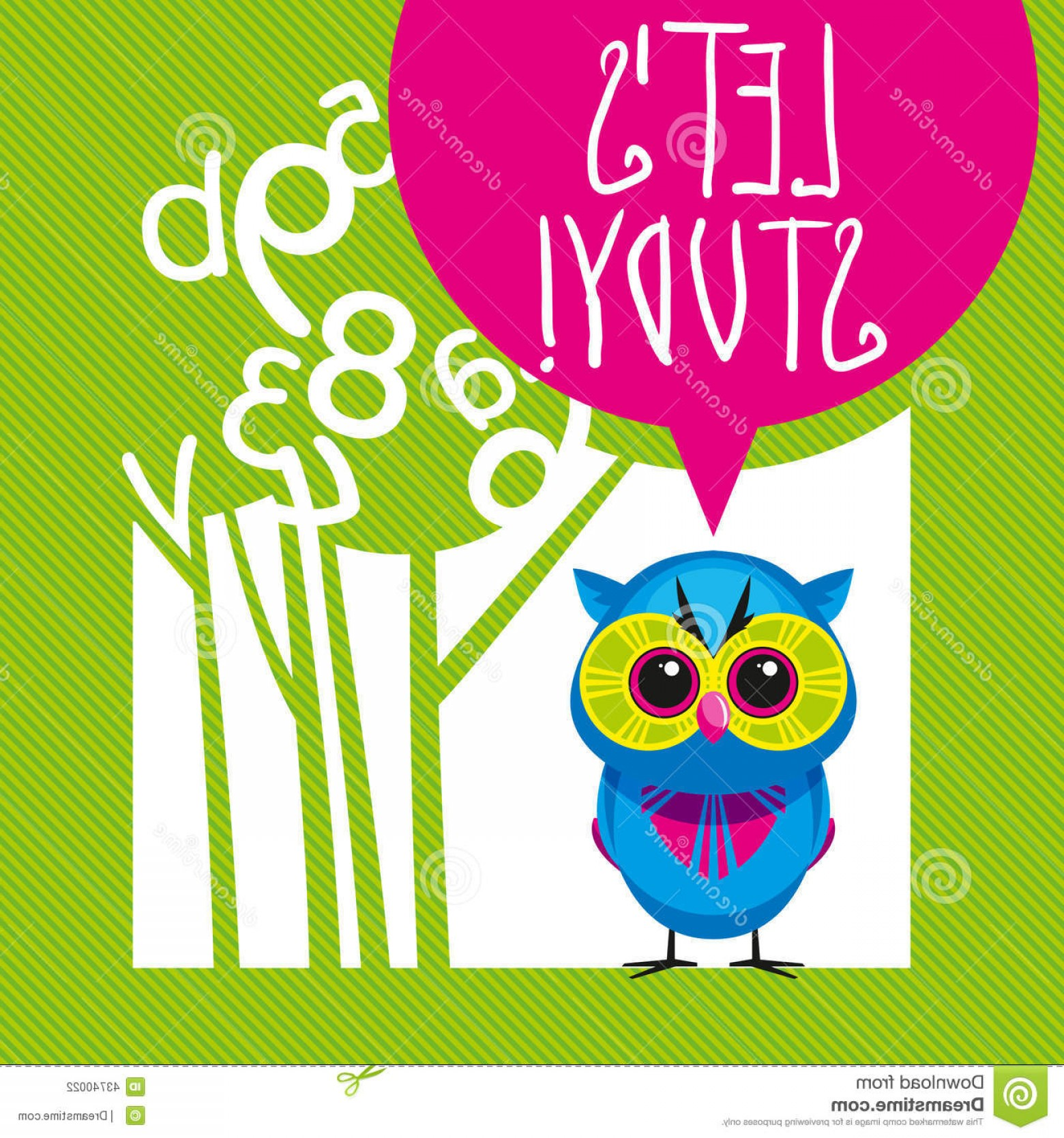 School Themed Vector: Stock Illustration School Theme Illustration Lets Study Cute Vector Background Tree Owl Image