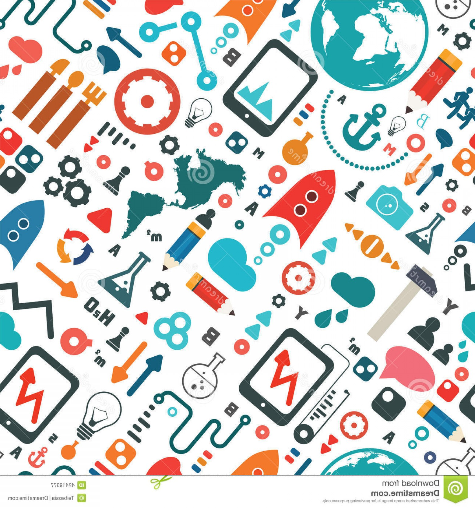 Pencil Icon Vectors Social Media: Stock Illustration Science Social Media Icon Seamless Pattern Vector Illustration Image