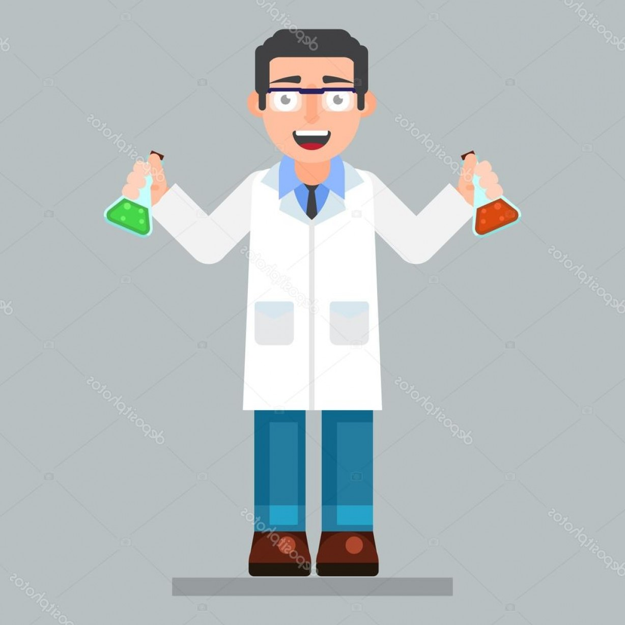 Lab Coat Cartoon Vector: Stock Illustration Scientist Character Wearing Glasses And