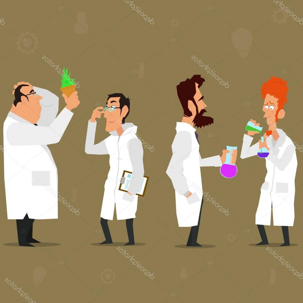 Lab Coat Cartoon Vector: Stock Illustration Scientist Characters And Lab Coats