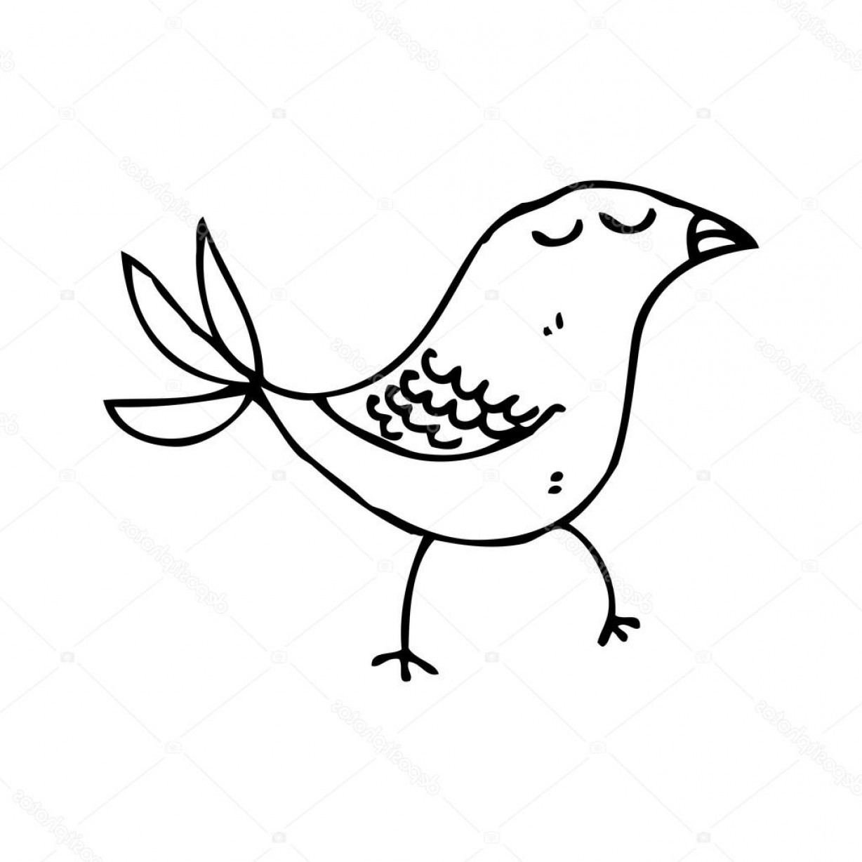 Scratch Y Drawing Vector: Stock Illustration Scratchy Line Bird Drawing