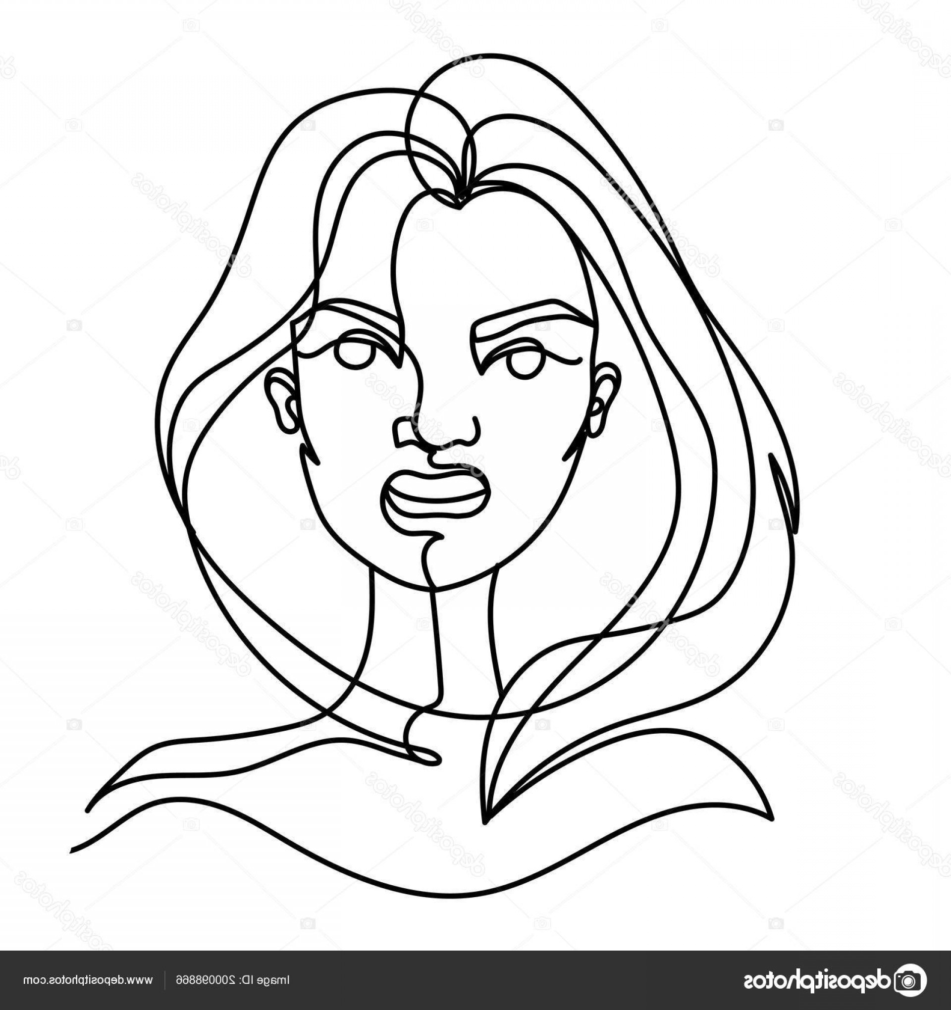 Woman Silhouette Vector Face Expression: Stock Illustration Screaming Woman One Line Art