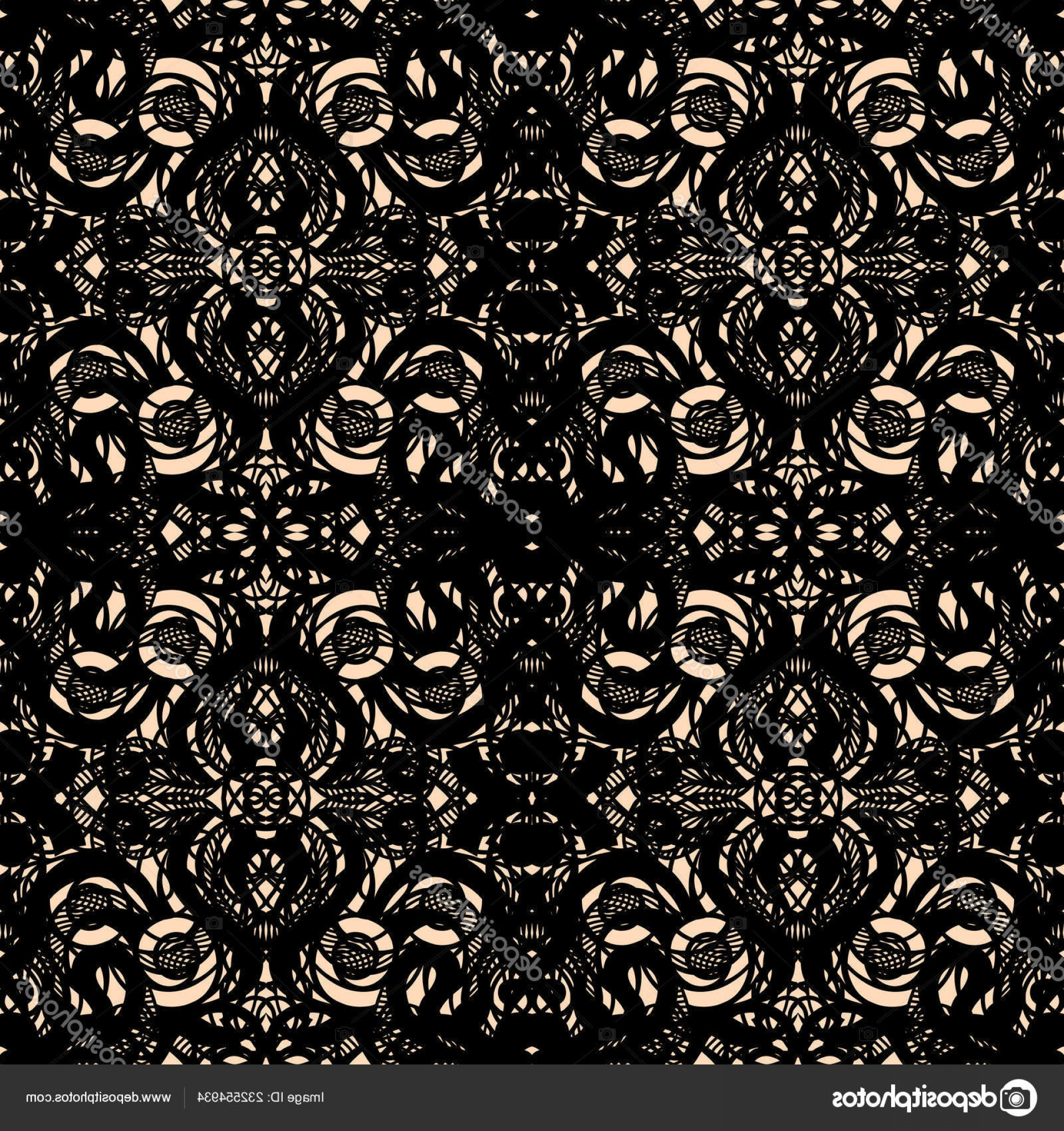 Tulle Black Lace Pattern Vector: Stock Illustration Seamless Abstract Openwork Pattern Black