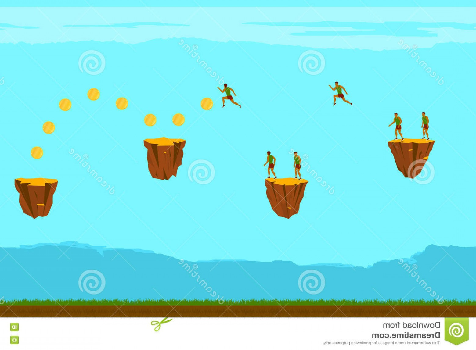 Vector Applications On Computers: Stock Illustration Seamless Background Games Mobile Applications Computers Man Runs Collect Gold Coins Vector Illustration Image