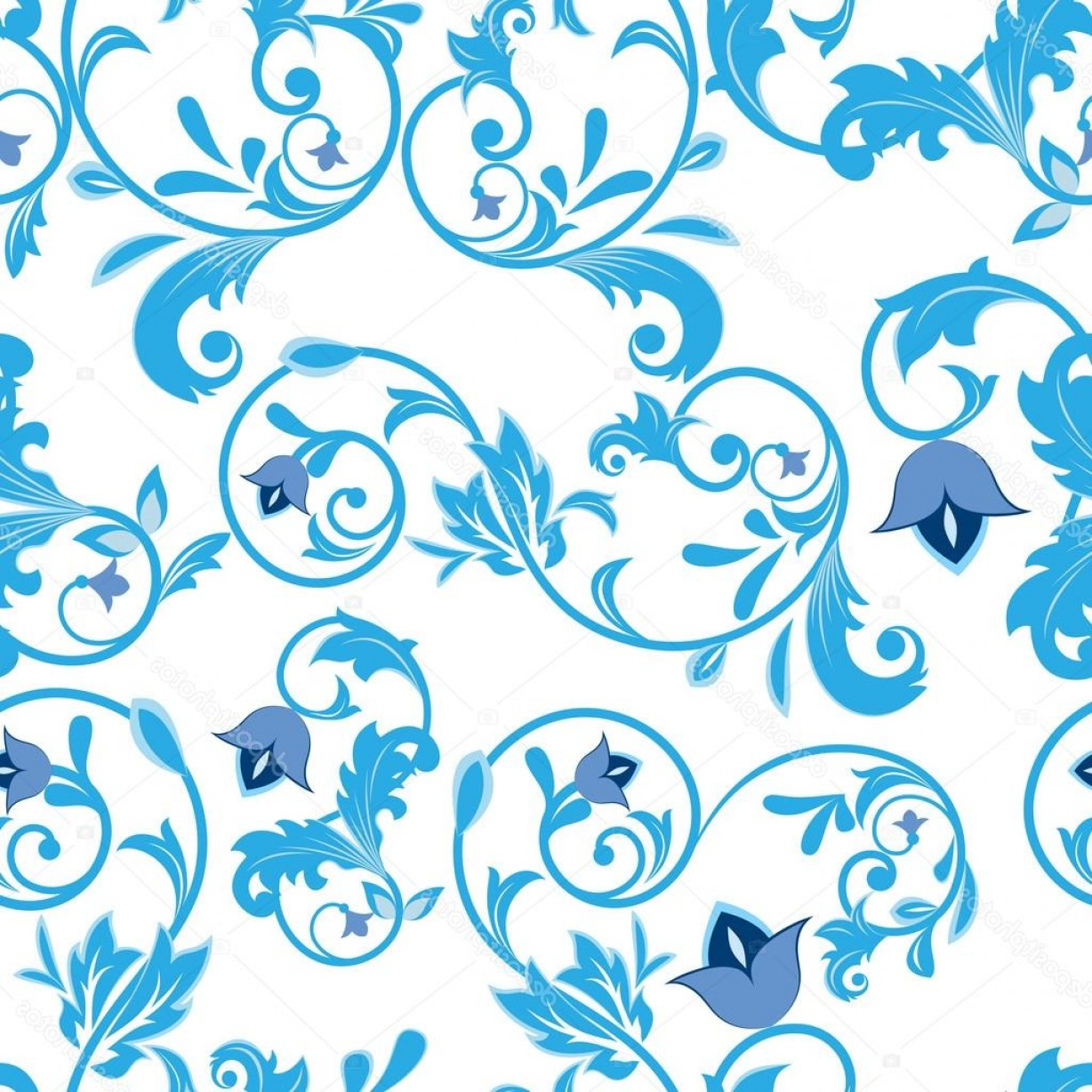 Turquoise Flower Vector: Stock Illustration Seamless Blue And White Flowers