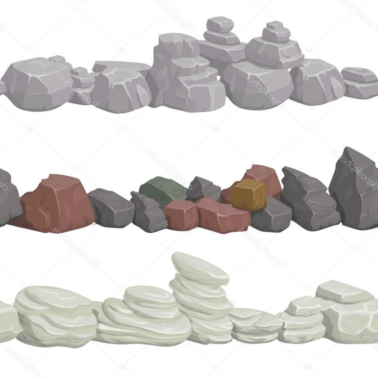 Vector Stone Landscaping: Stock Illustration Seamless Cartoon Stones And Bridge