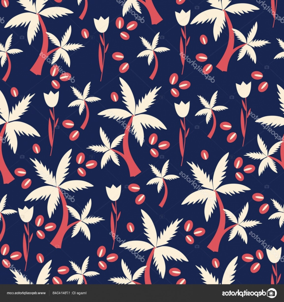 Seed Flower Vectors: Stock Illustration Seamless Floral Pattern Cartoon Vector