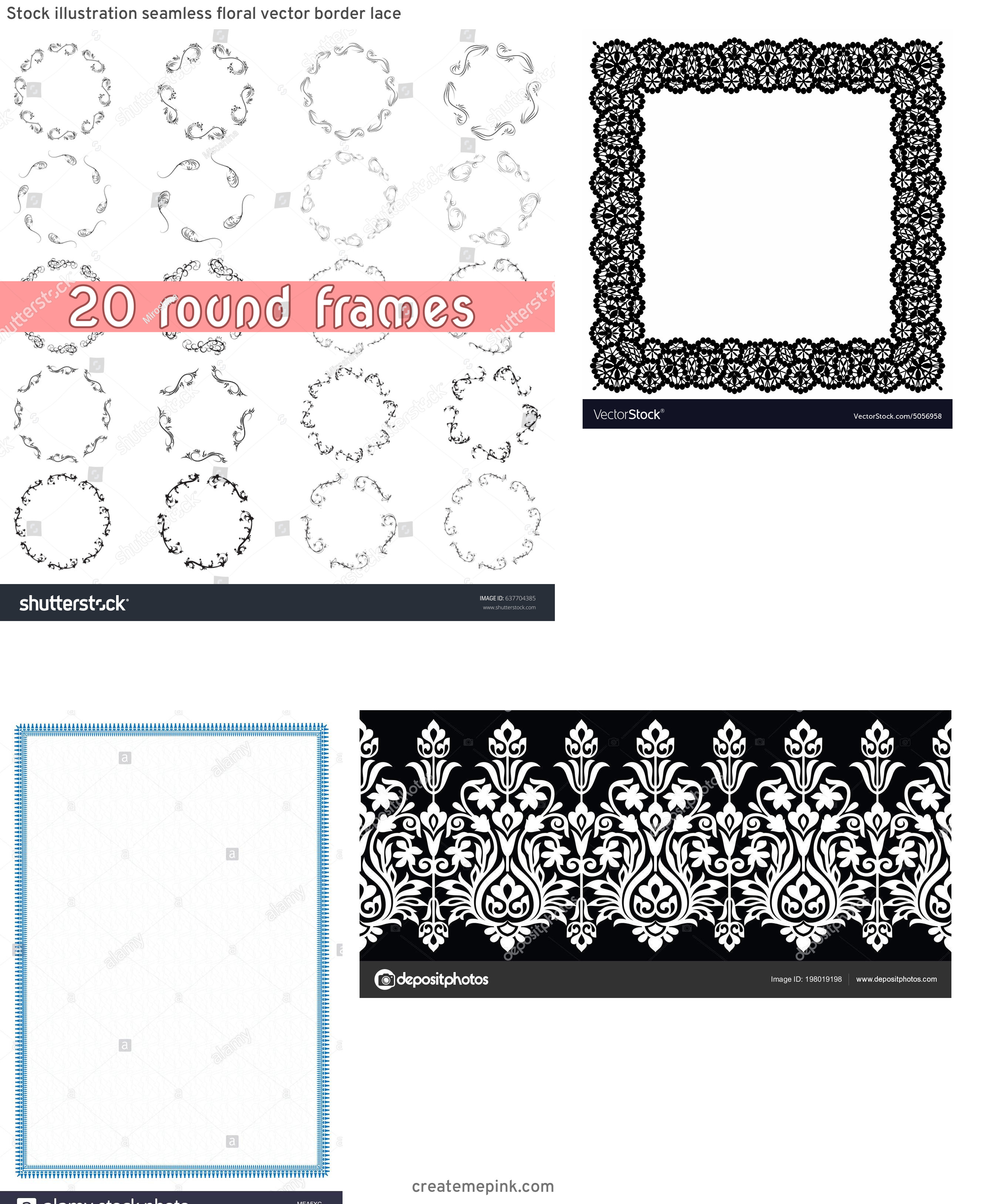 Simple Lace Frame Vector: Stock Illustration Seamless Floral Vector Border Lace