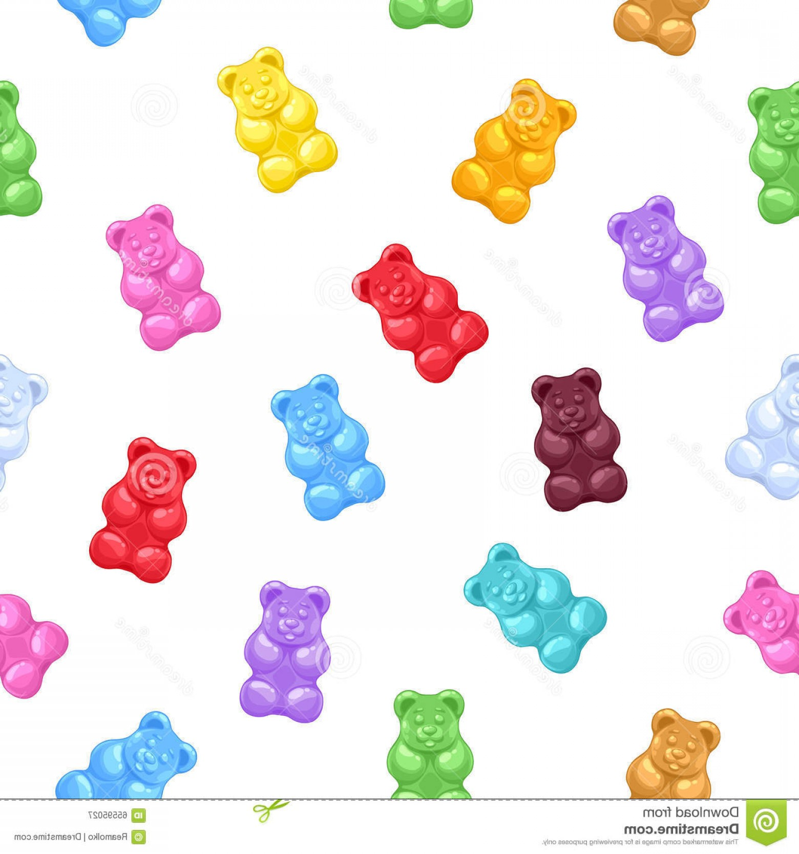 Gummy Bear Vector: Stock Illustration Seamless Gummy Bears Candies Background Colorful Sweets Vector Pattern Image