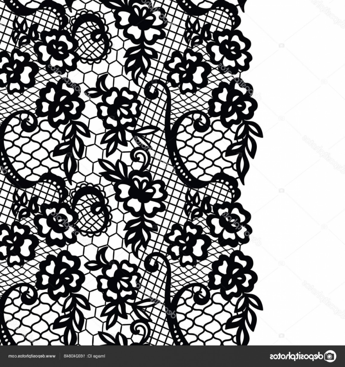 Floral Lace Trim Vector: Stock Illustration Seamless Lace Border Invitation Card