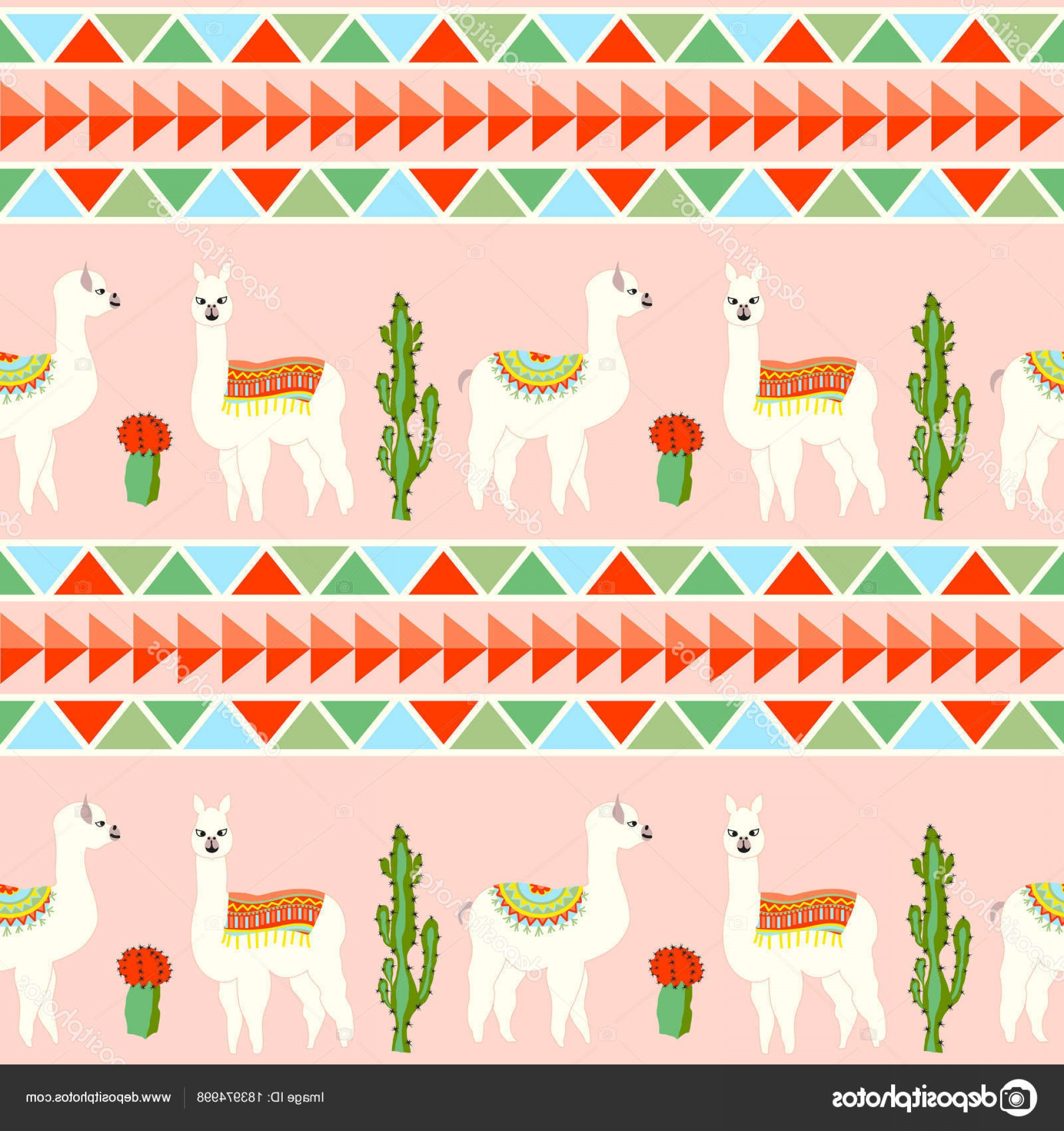 Aztec Cactus Vector: Stock Illustration Seamless Pattern Cute Llama Castus