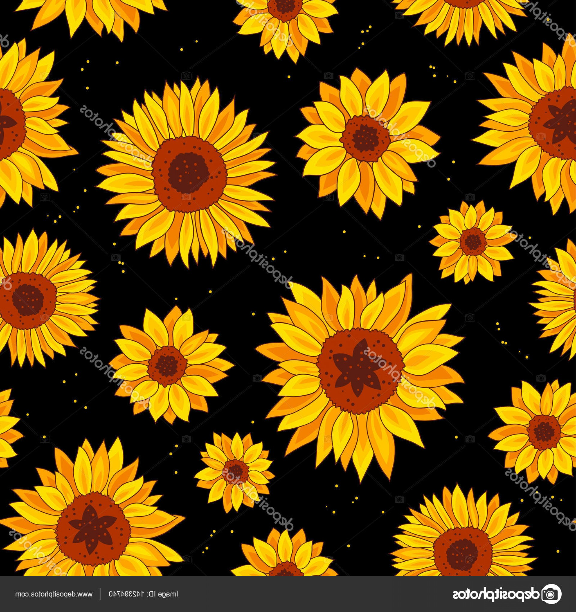 Sunflower Vector Pattern: Stock Illustration Seamless Pattern Of Sunflowers