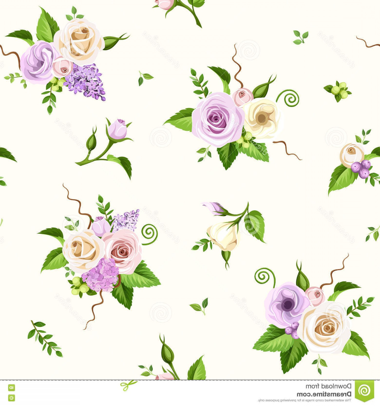 Purple Green And White Vector: Stock Illustration Seamless Pattern Purple White Flowers Vector Illustration Pink Roses Lisianthuses Lilac Hydrangea Green Leaves Image
