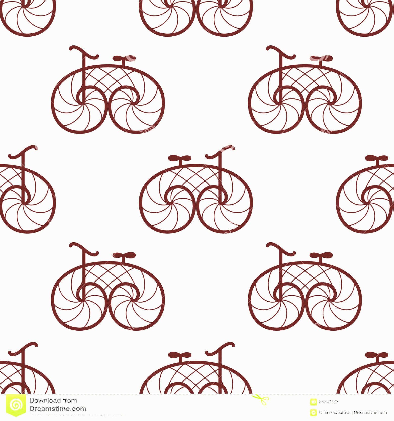 Bicycle Vector Artwork Of Patterns: Stock Illustration Seamless Pattern Retro Bicycle Vector Line Art Bike Design Image