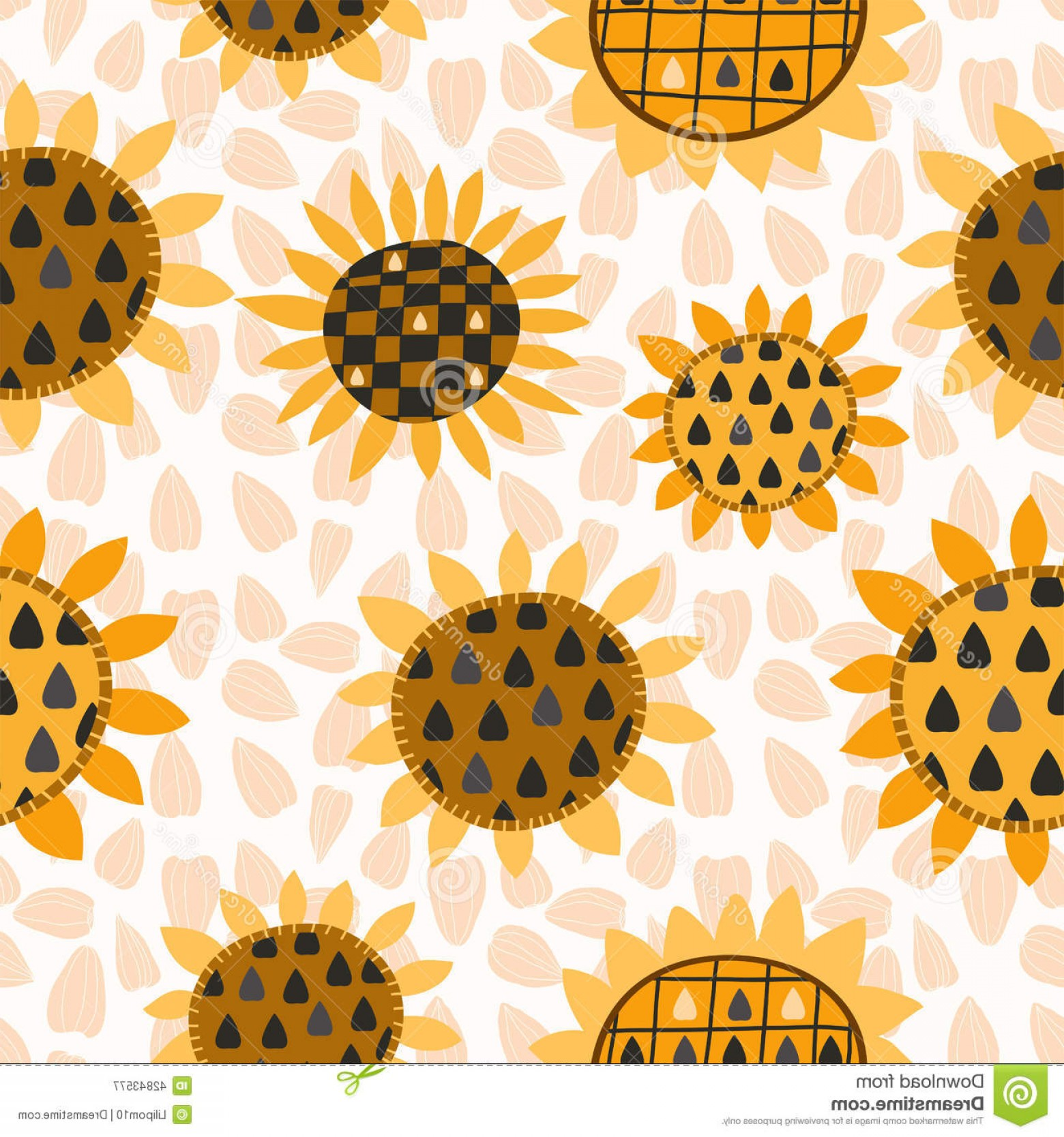 Sunflower Vector Pattern: Stock Illustration Seamless Pattern Sunflower Seeds Textiles Interior Design Book Design Website Background Image