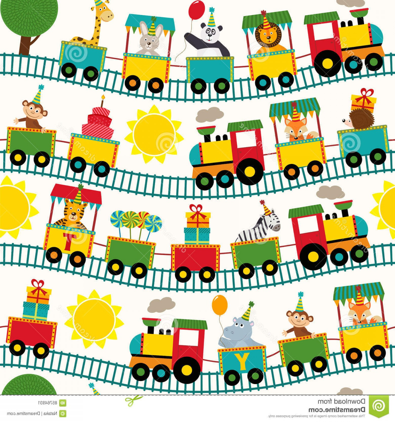 Vector Train Pattern: Stock Illustration Seamless Pattern Train Birthday Characters Vector Illustration Eps Image