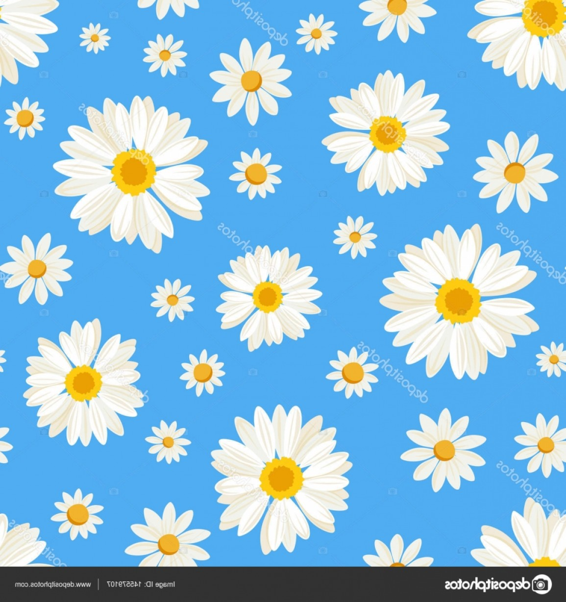 Blue Daisy Flower Vector: Stock Illustration Seamless Pattern With Daisy Flowers