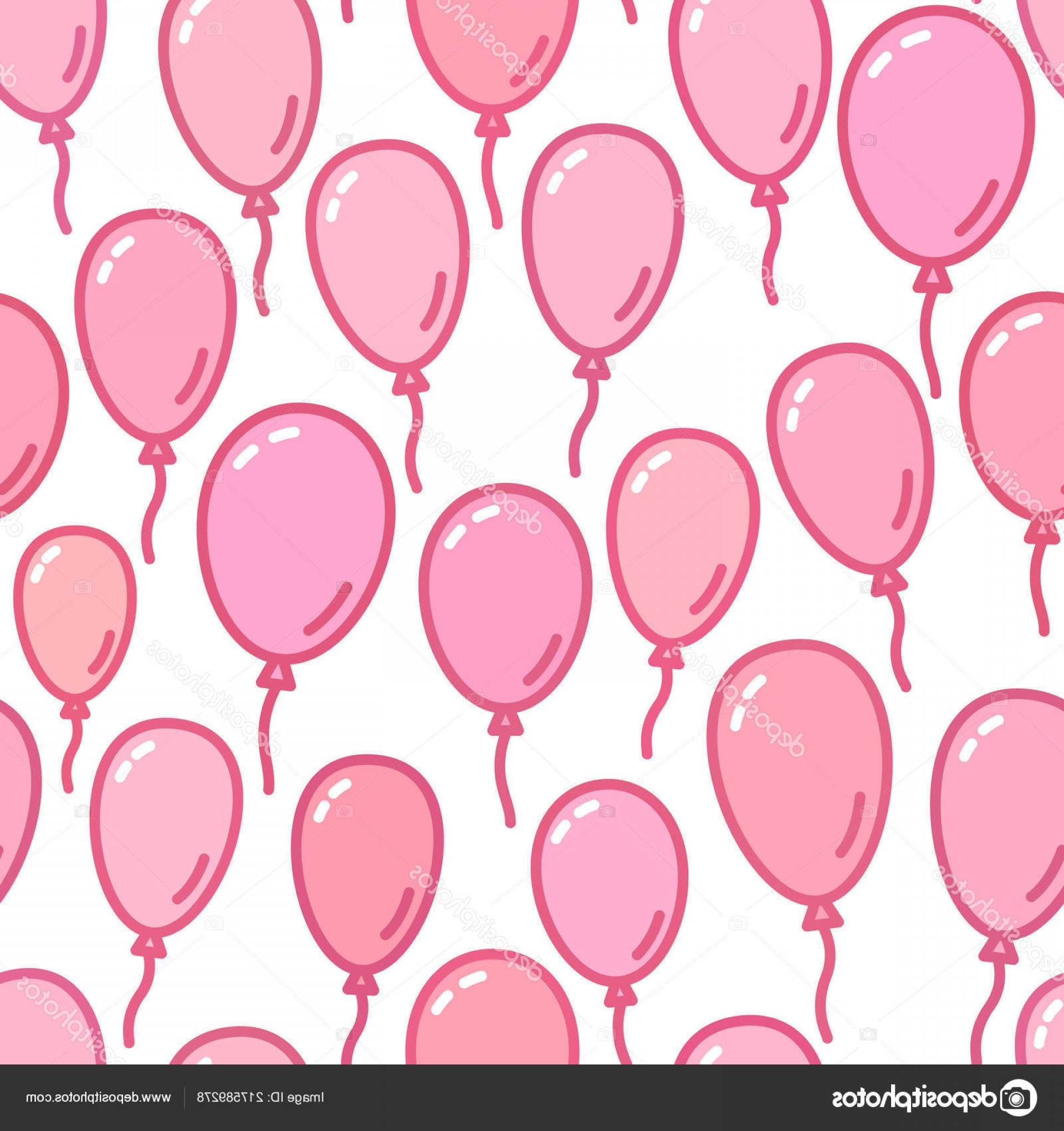Balloons Vector Wallpaper: Stock Illustration Seamless Pattern With Pink Balloons