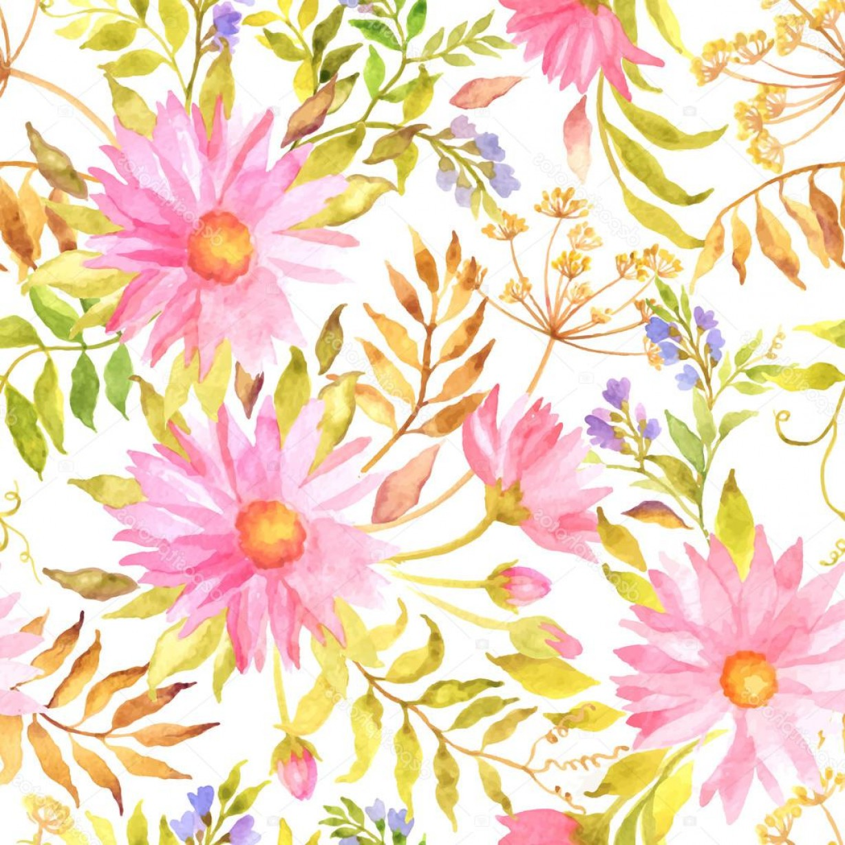 Watercolor Floral Background Vector: Stock Illustration Seamless Watercolor Floral Pattern