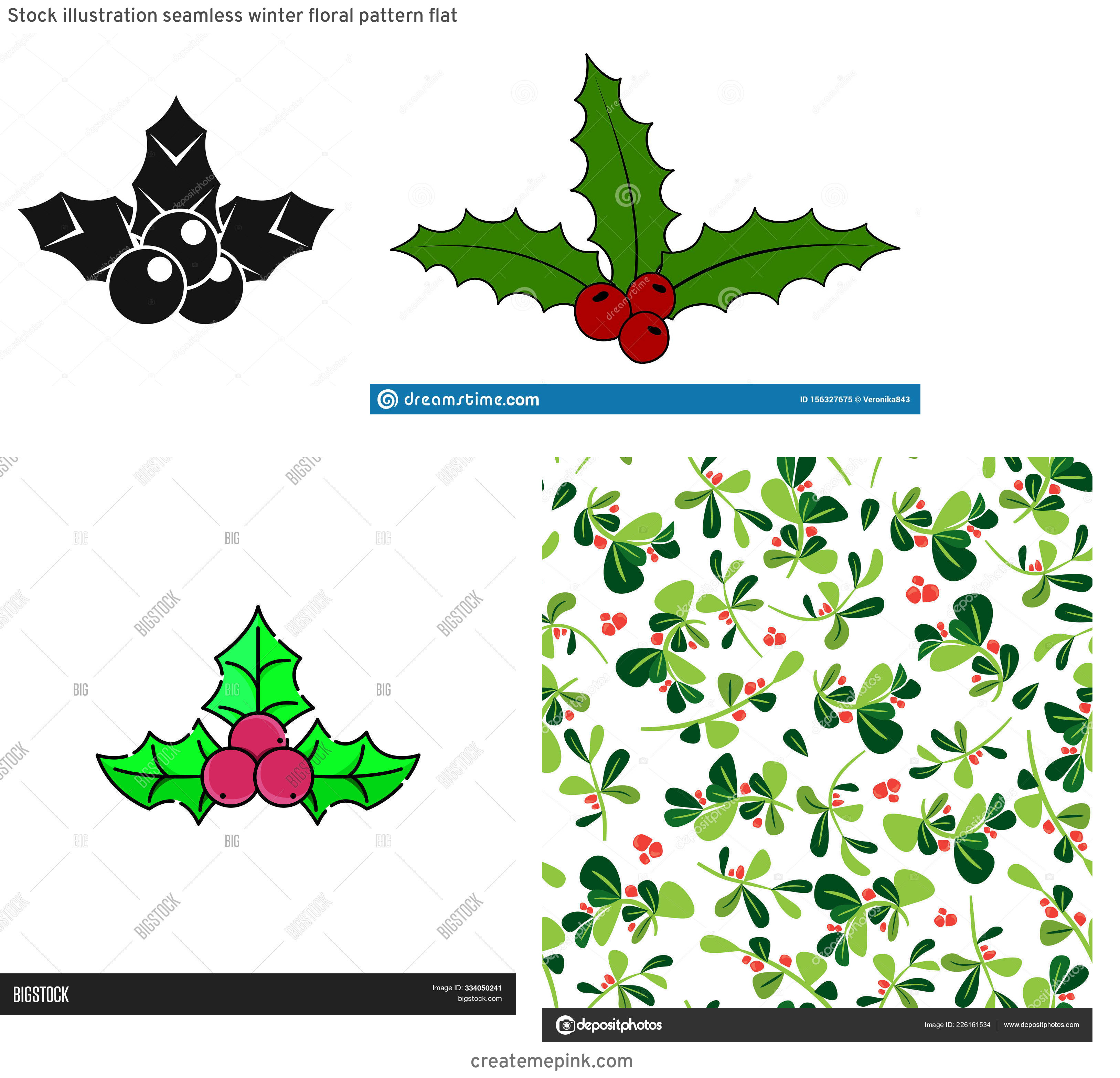 Holly Berry Vector Background: Stock Illustration Seamless Winter Floral Pattern Flat