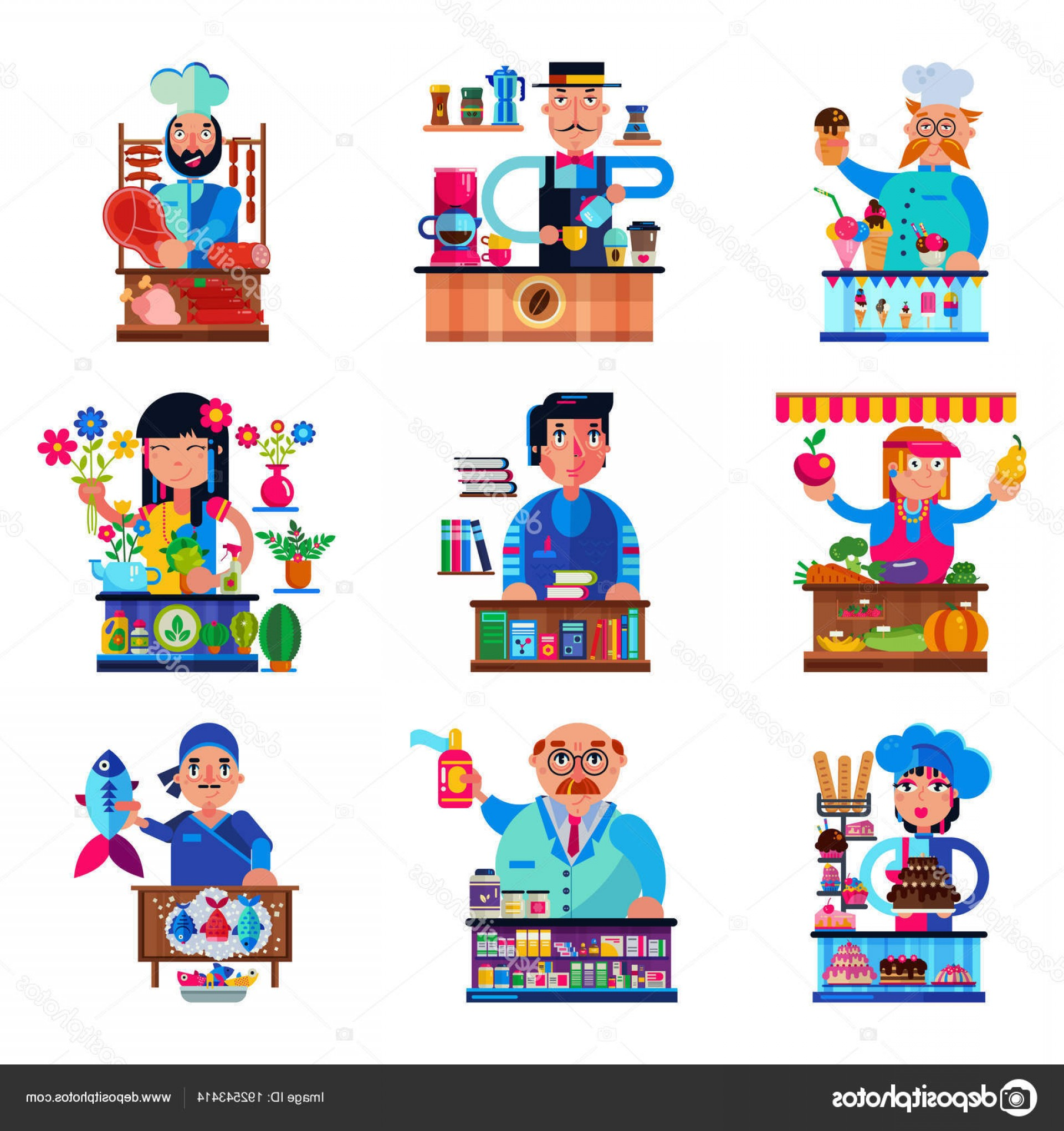 Candy Seller Vector: Stock Illustration Seller Vector Salesman Character Selling