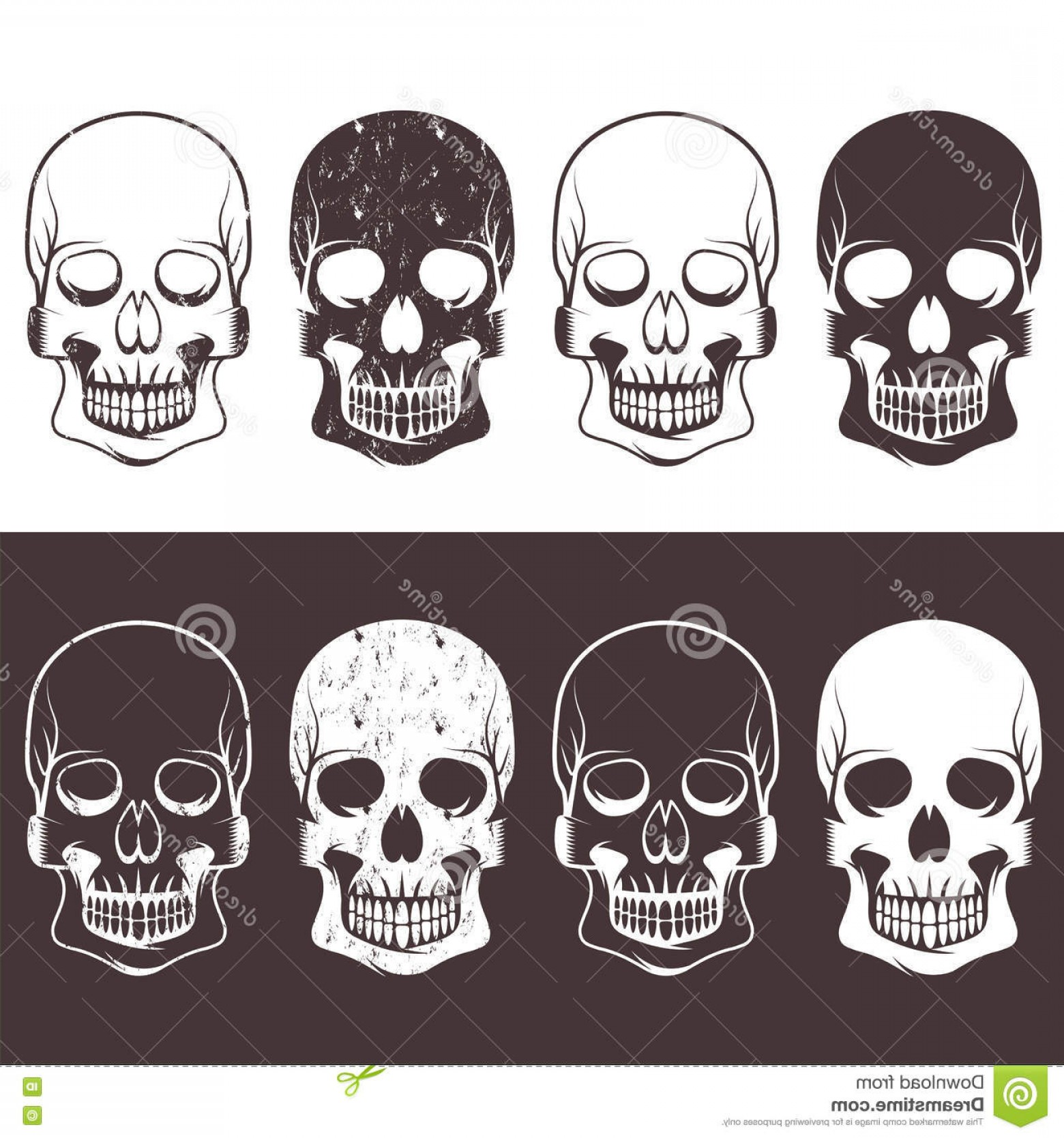 His And Hers Skulls Vector: Stock Illustration Set Aggressive Skulls Vector Design Template Image
