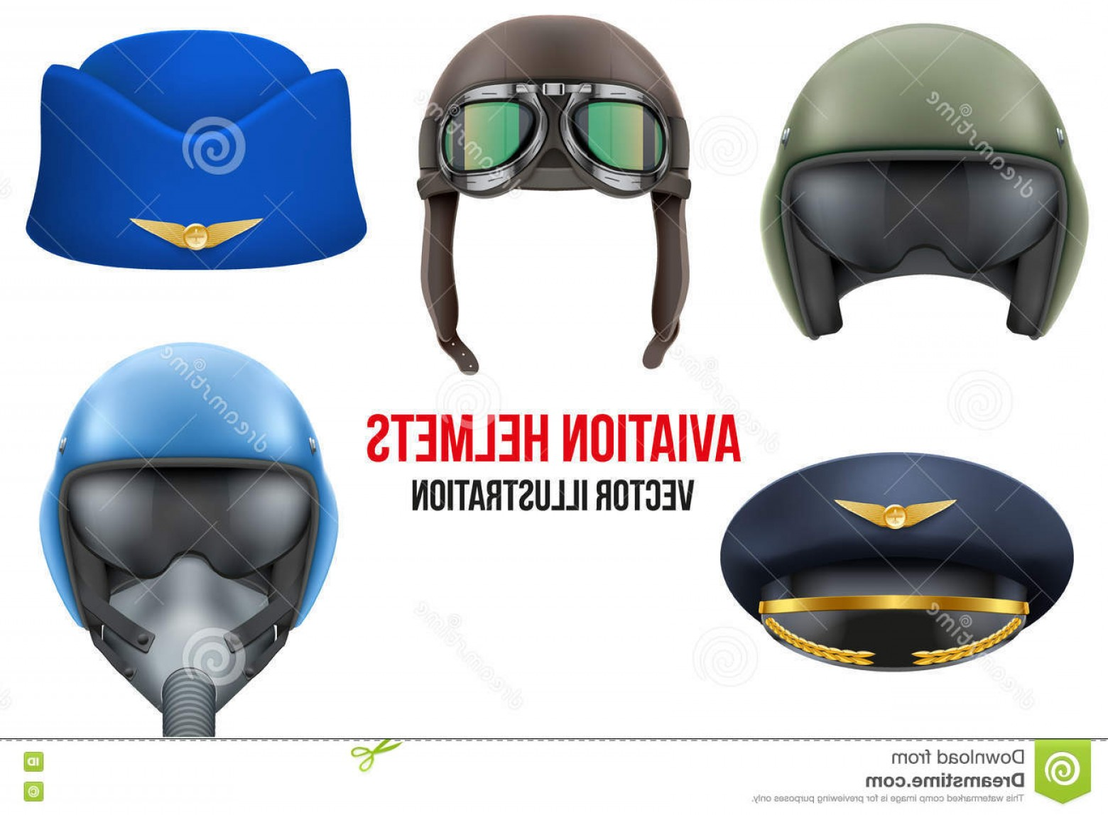 Fighter Helmet Vectors: Stock Illustration Set Aviator Helmets Hats Headgear Aviation Professional Workers Vector Illustration Isolated White Background Image