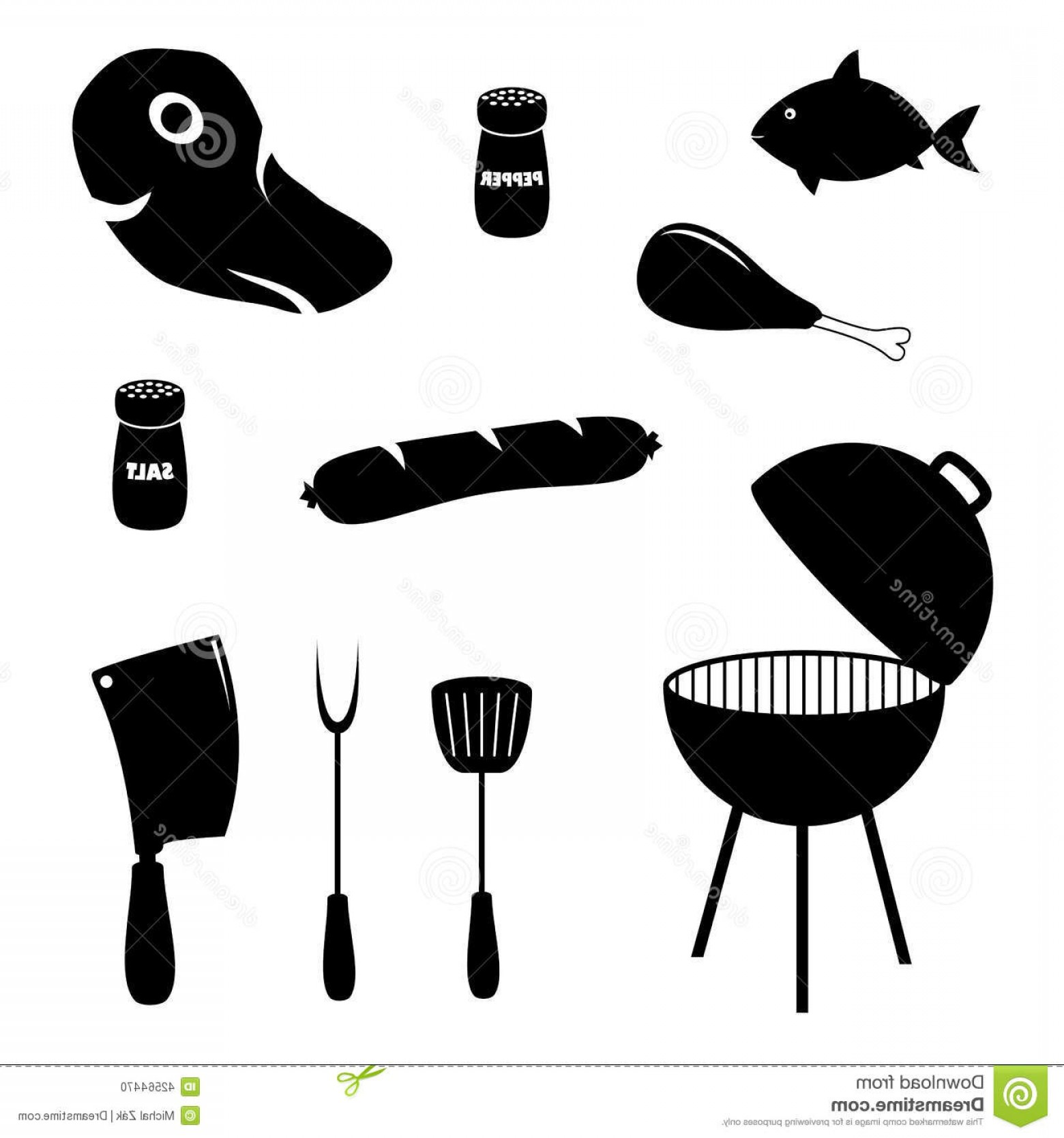 BBQ Grill Vector Black And White: Stock Illustration Set Barbecue Related Icons Food Grill Tools Collection Simple Black White To Party Image