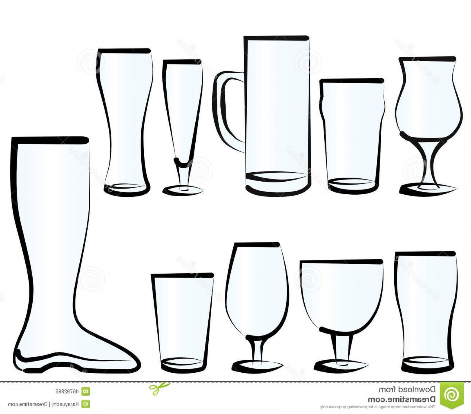 Beer Chalice Vector Logo: Stock Illustration Set Beer Glasses Vector Illustration As You Can Find Bar Pub Restaurant Image