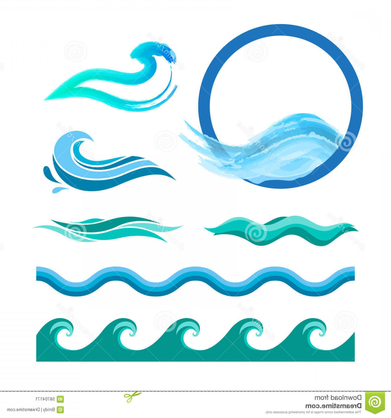 Ocean Wave Vector Illustration: Stock Illustration Set Blue Ocean Waves Vector Logo Elements Sea Water Icons Image