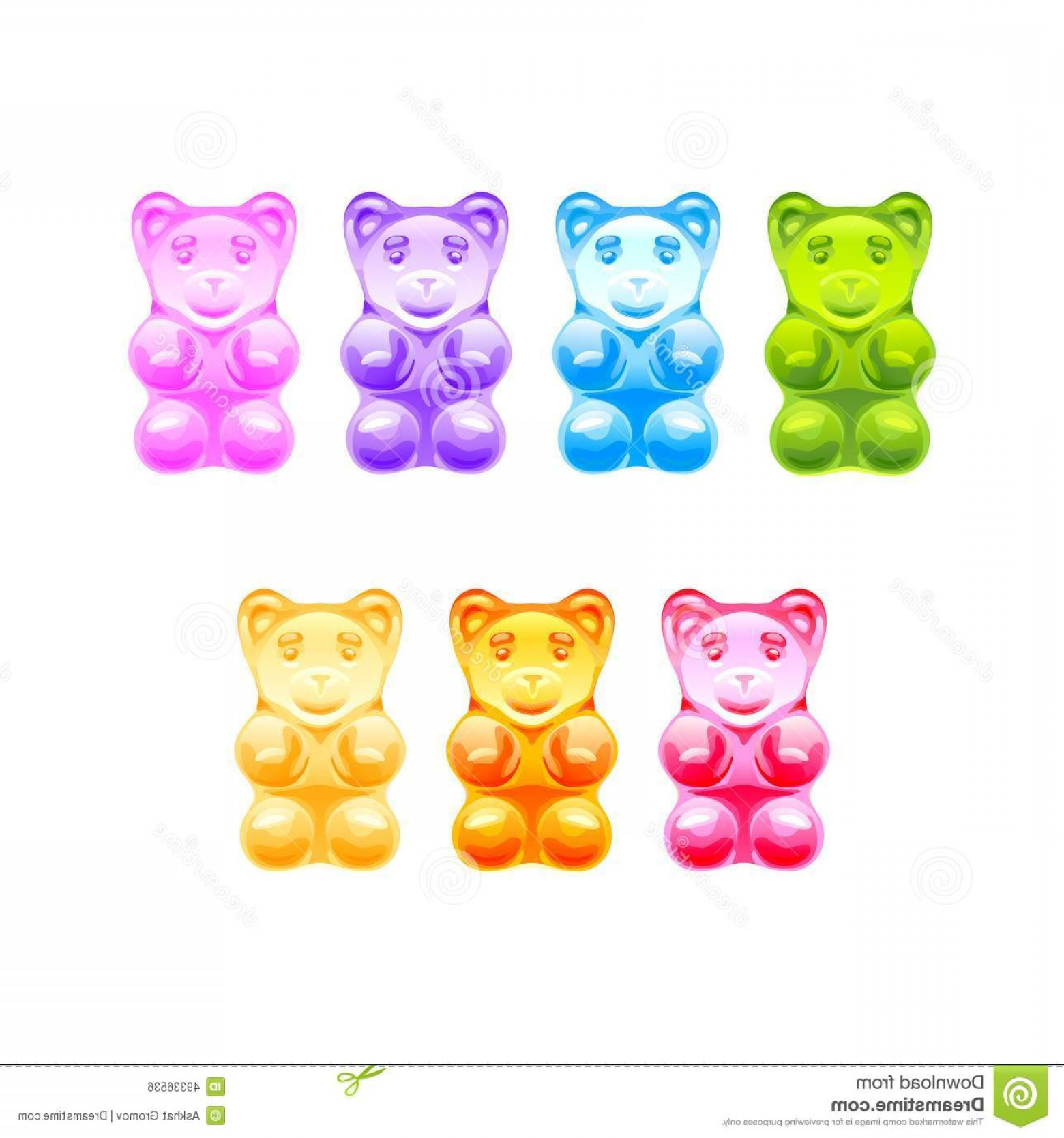 Gummy Bear Vector: Stock Illustration Set Bright Colored Gummy Bears Vector White Background Image