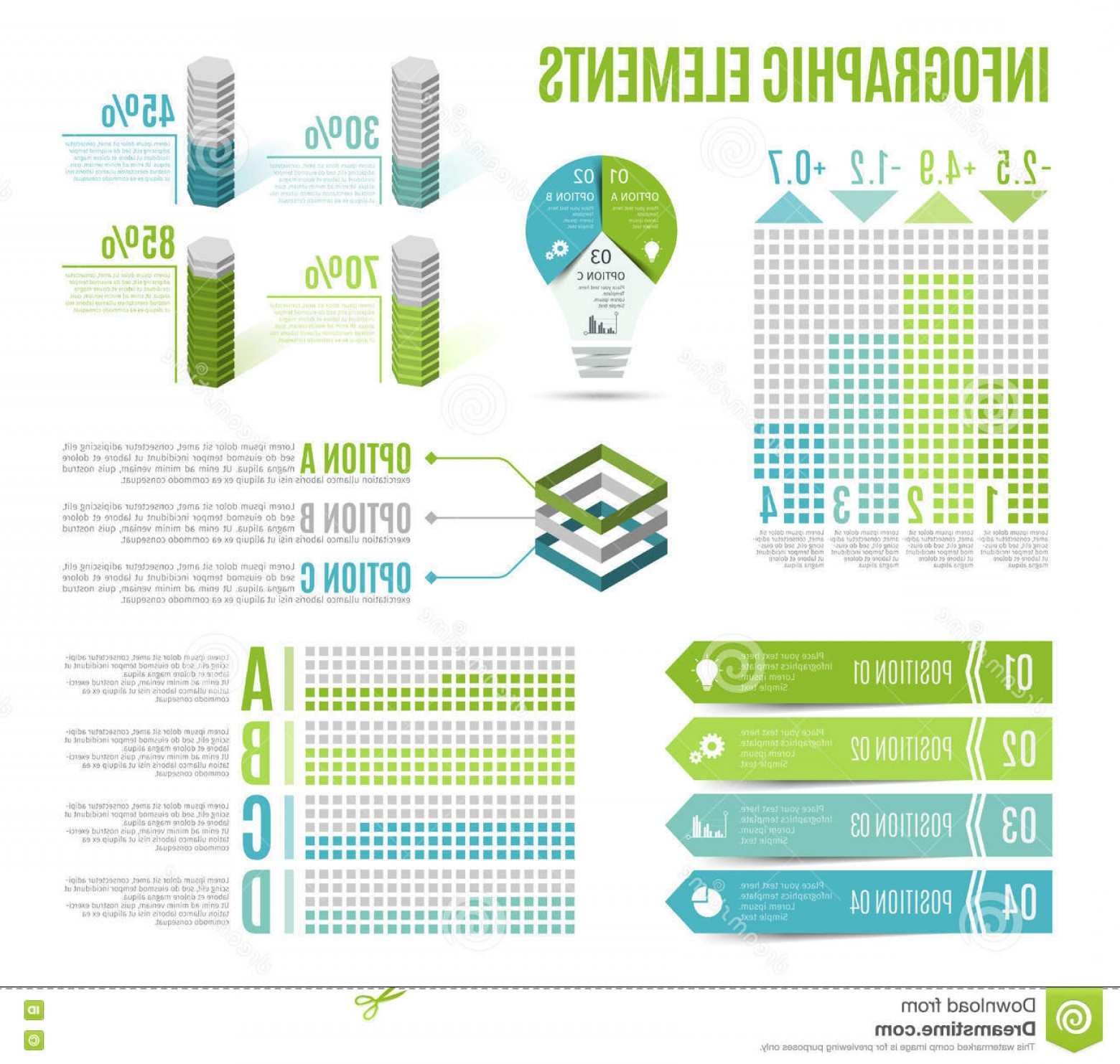 Graphing Vectors 2 1: Stock Illustration Set Business Infographic Elements Template Presentation Chart Graph Vector Illustration Image
