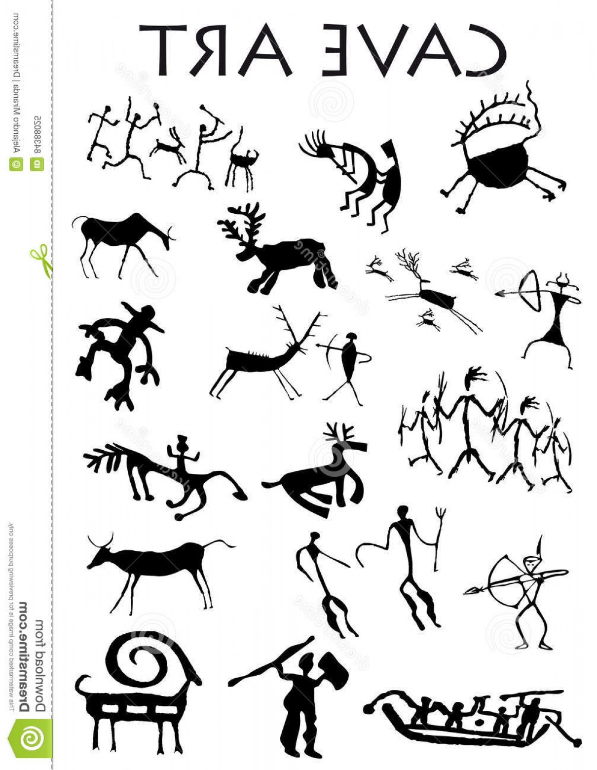 Cave Vector: Stock Illustration Set Cave Art White Background Vector Image Image